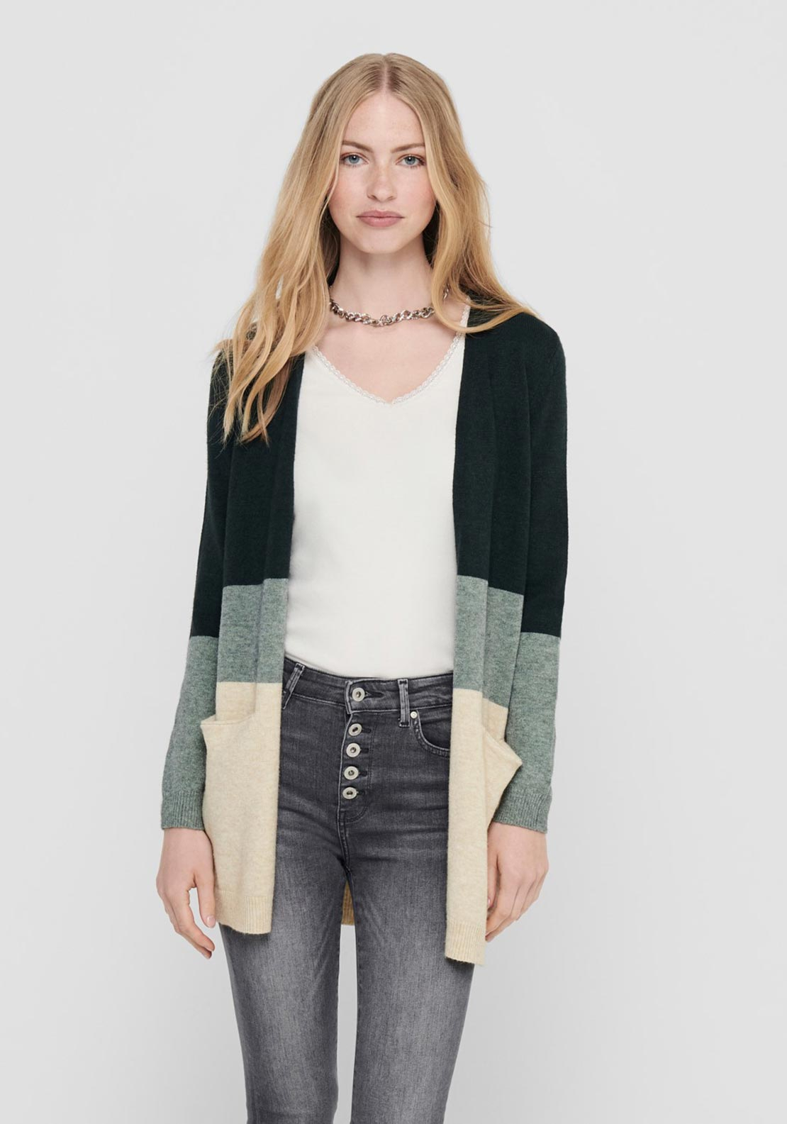 Only Queen Colour Block Long Sleeve Knit Cardigan, Green Multi