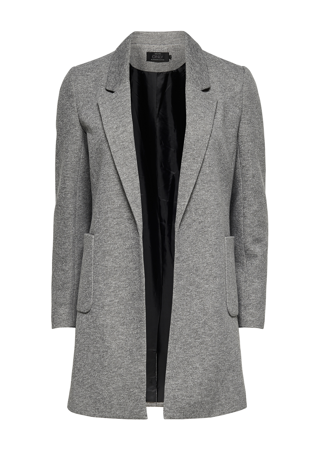 Only Baker Long Blazer Jacket, Light Grey Melange