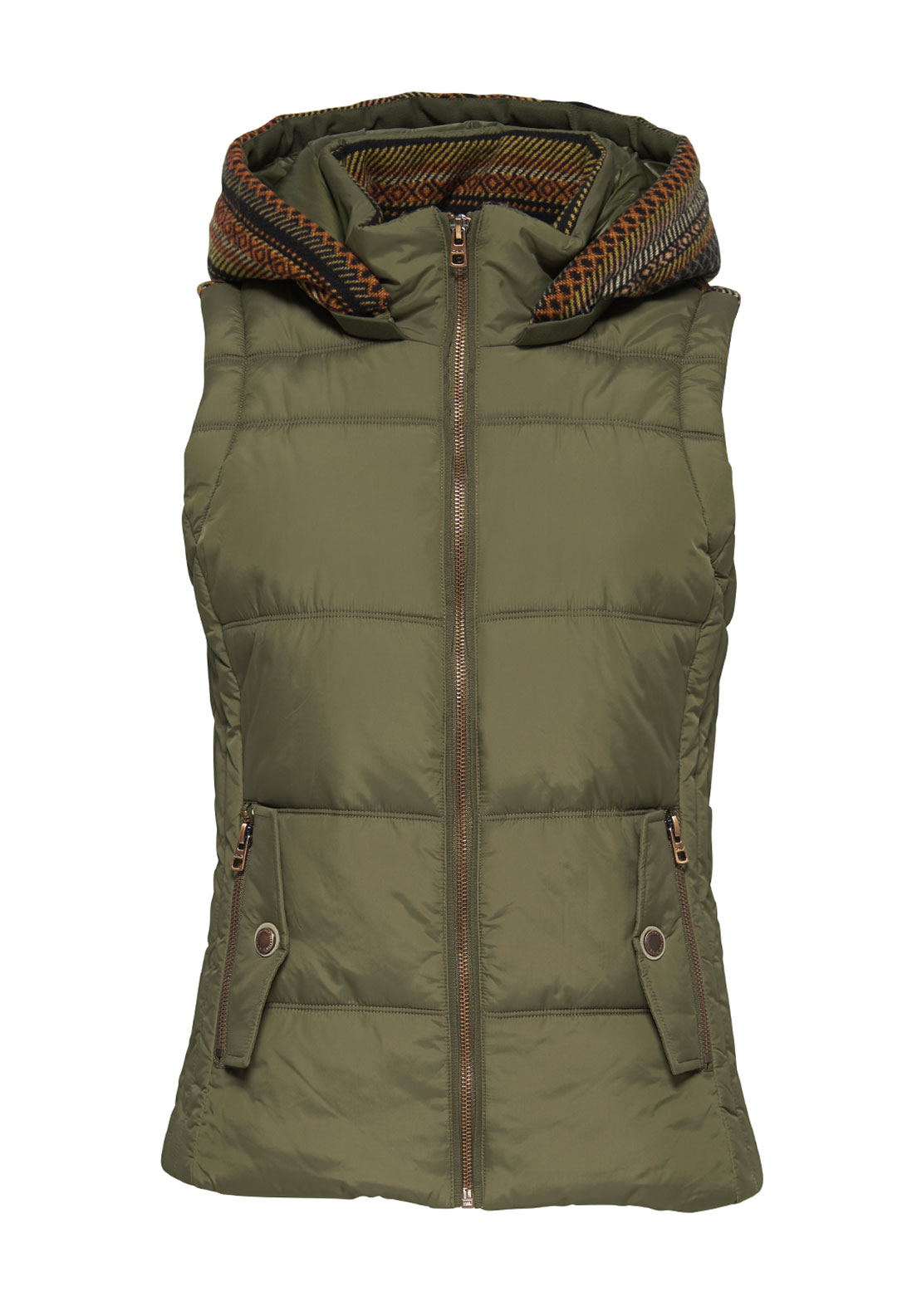 Only Dakota Fairisle Trim Quilted Gilet, Khaki Green