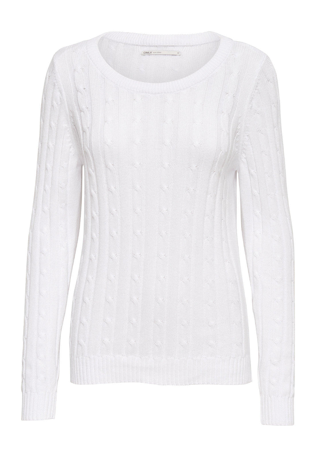 Only Loui Cable Knit Jumper, Bright White
