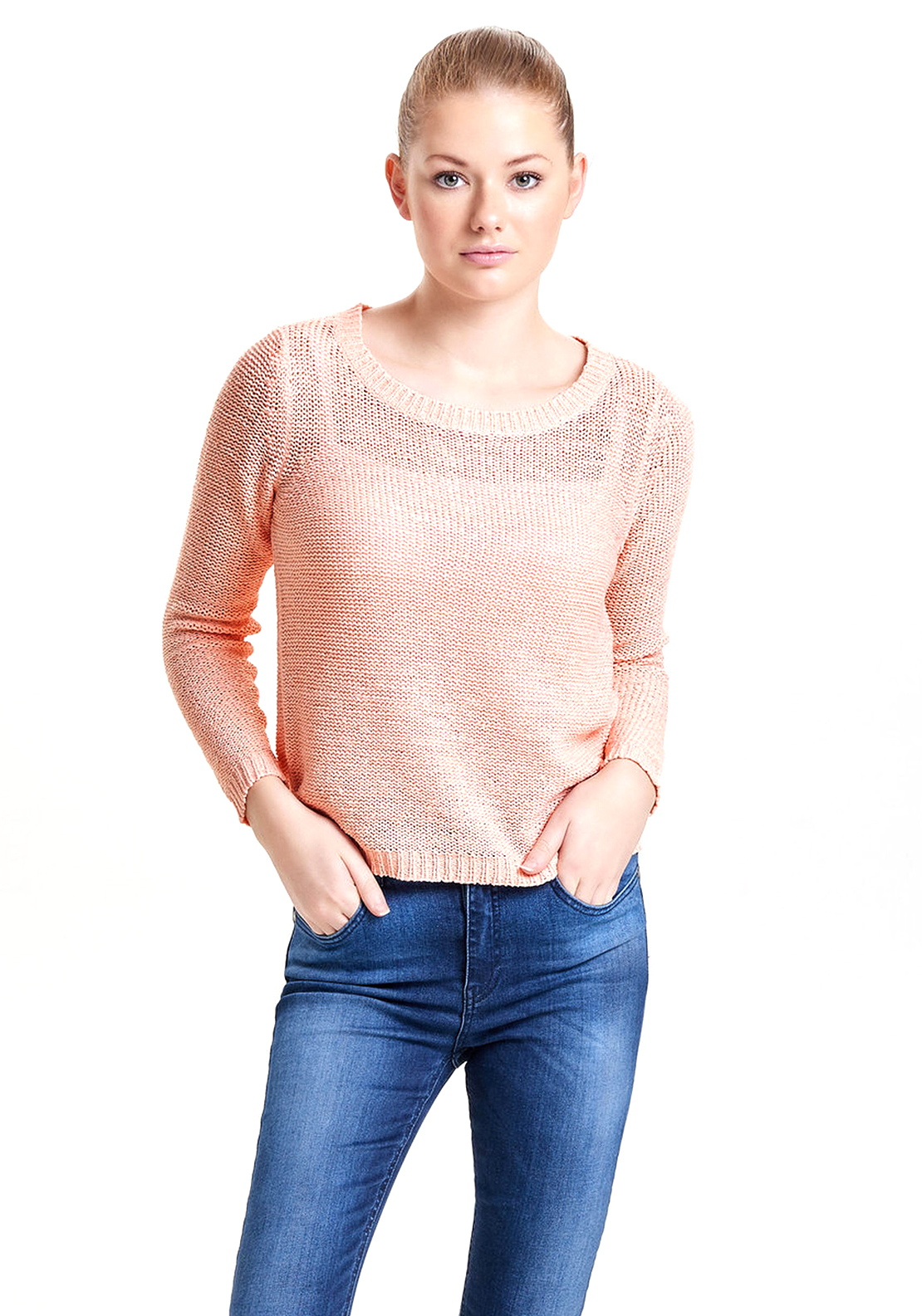Only Geena Knitted Sweater Jumper, Peach Pink