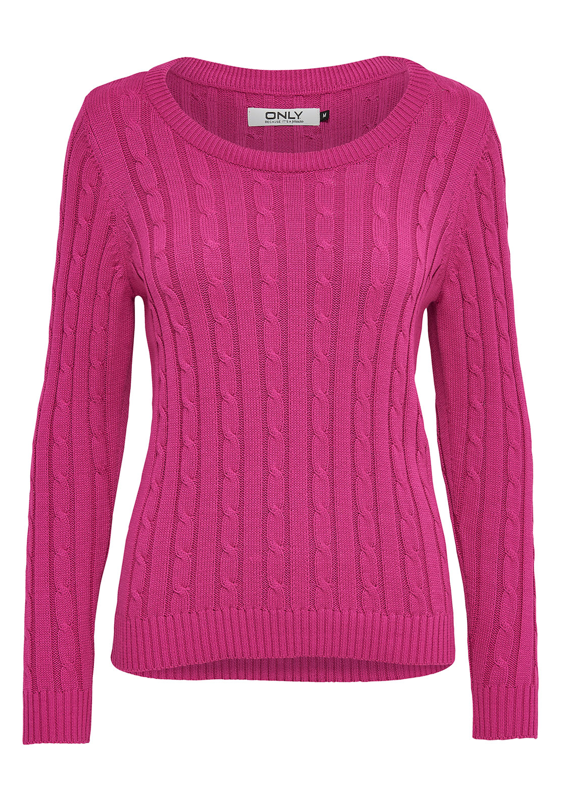 Only Loui Cable Knit Jumper, Pink