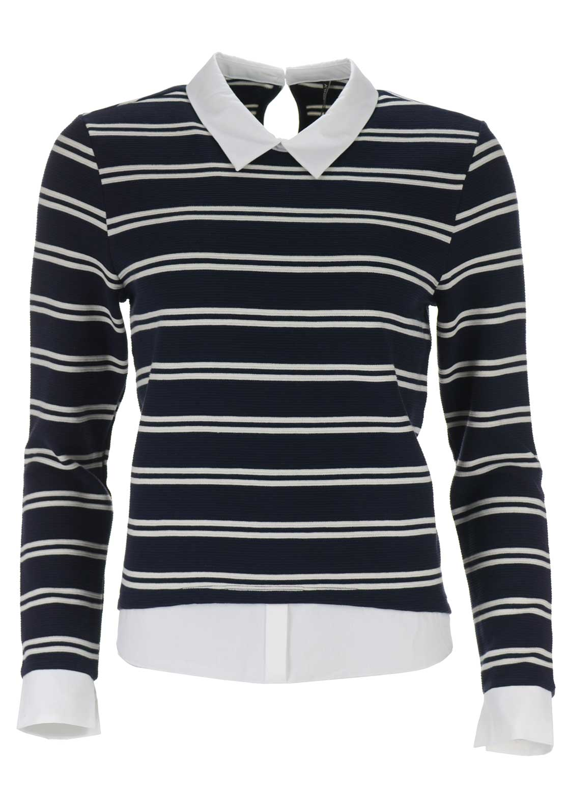 Only Carmen Mix Sweat Top, Navy Striped