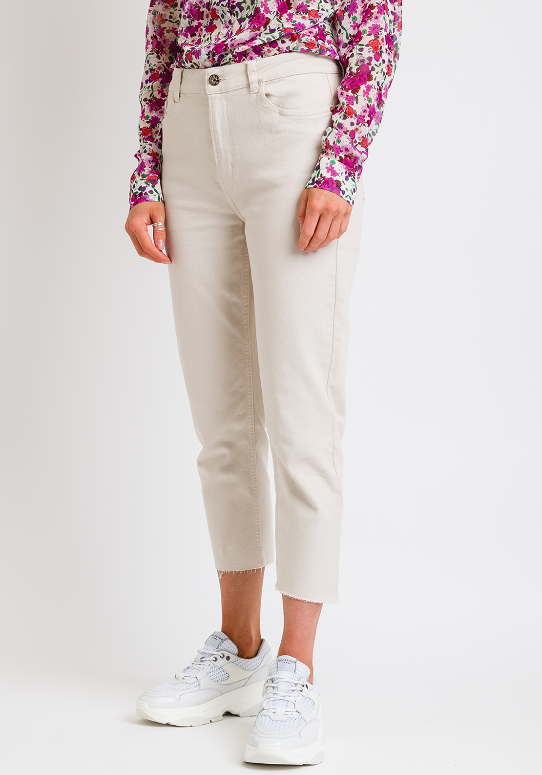 Only Emily High Waist Cropped Ankle Straight Jeans, Cream