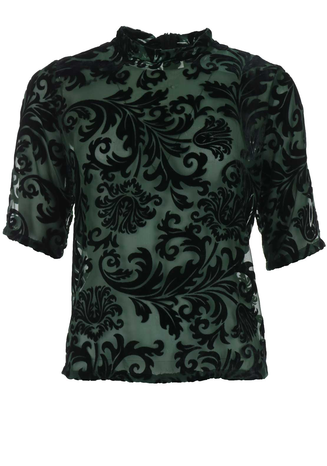 Only Velvet High Neck Barcode Top, Green