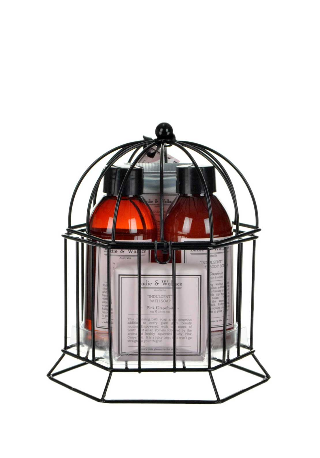 Eadie & Wallace Indulgent Small Bird Cage Shower Gift Set, Pink Grapefruit
