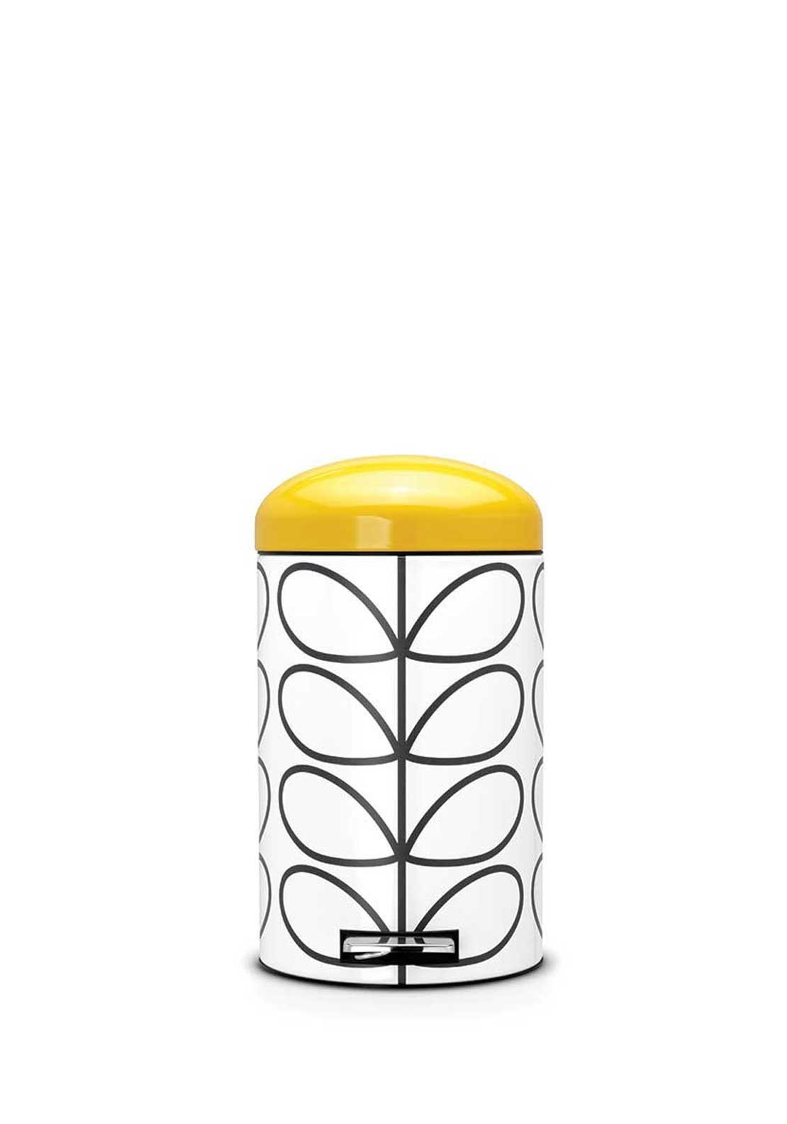 Orla Kiely Retro Silent Bin by Brabantia in Linear Stem Print, Cream, 12ltr