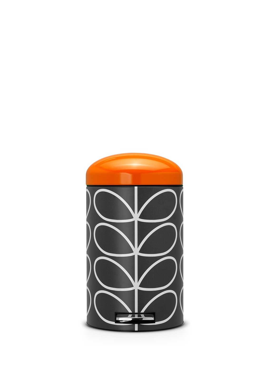 Orla Kiely Retro Silent Bin by Brabantia in Linear Stem Print, Charcoal, 12ltr