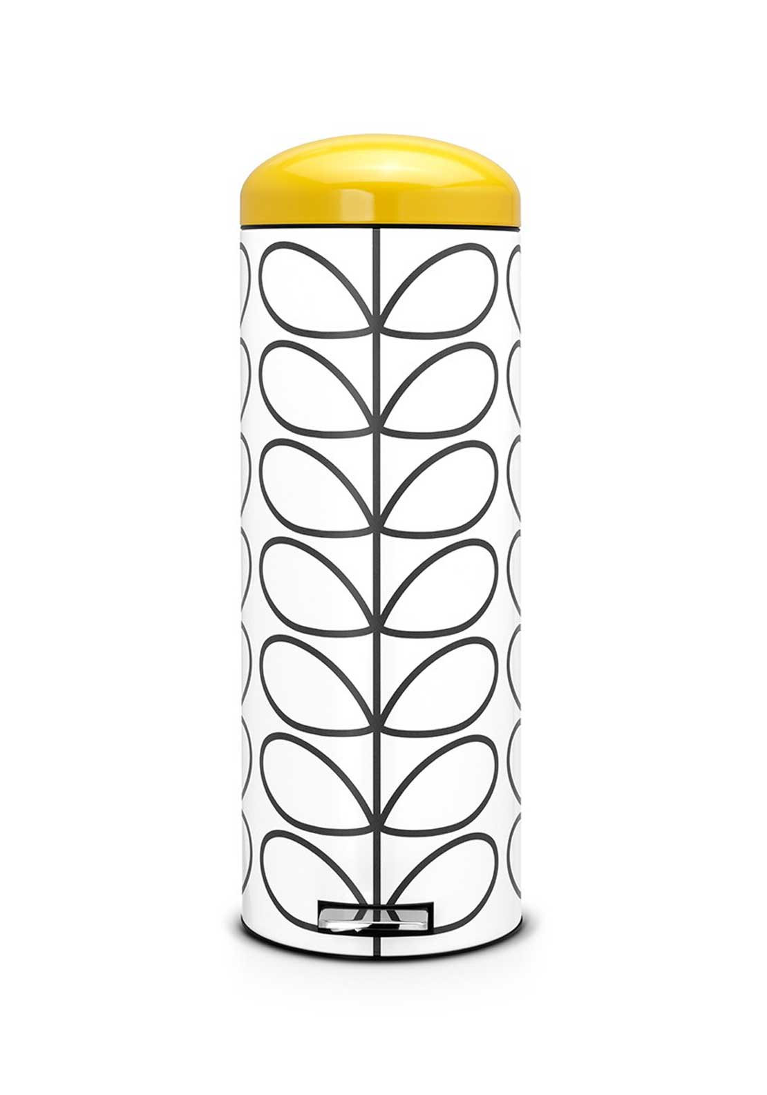 Orla Kiely Retro Silent Bin by Brabantia Kiely in Linear Stem Print, Cream, 20ltr