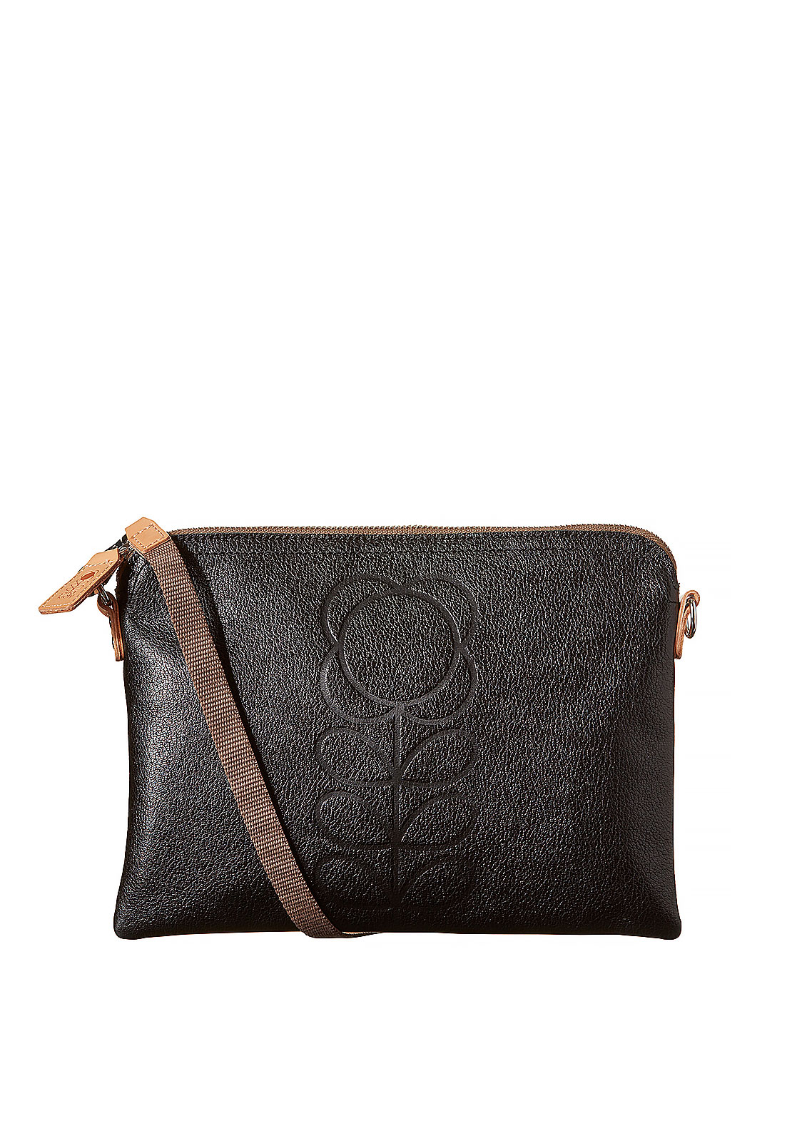 Orla Kiely Embossed Flower Leather Travel Crossbody Pouch, Black