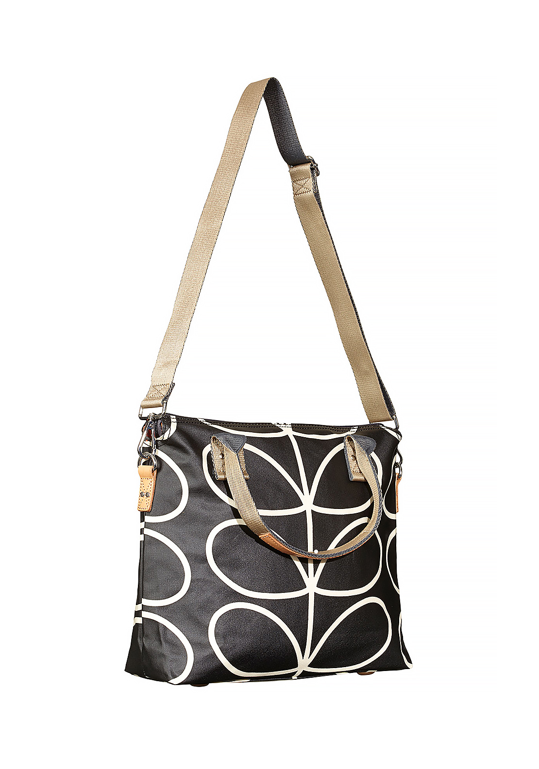 Orla Kiely Giant Linear Stem Zip Messenger Bag, Liquorice