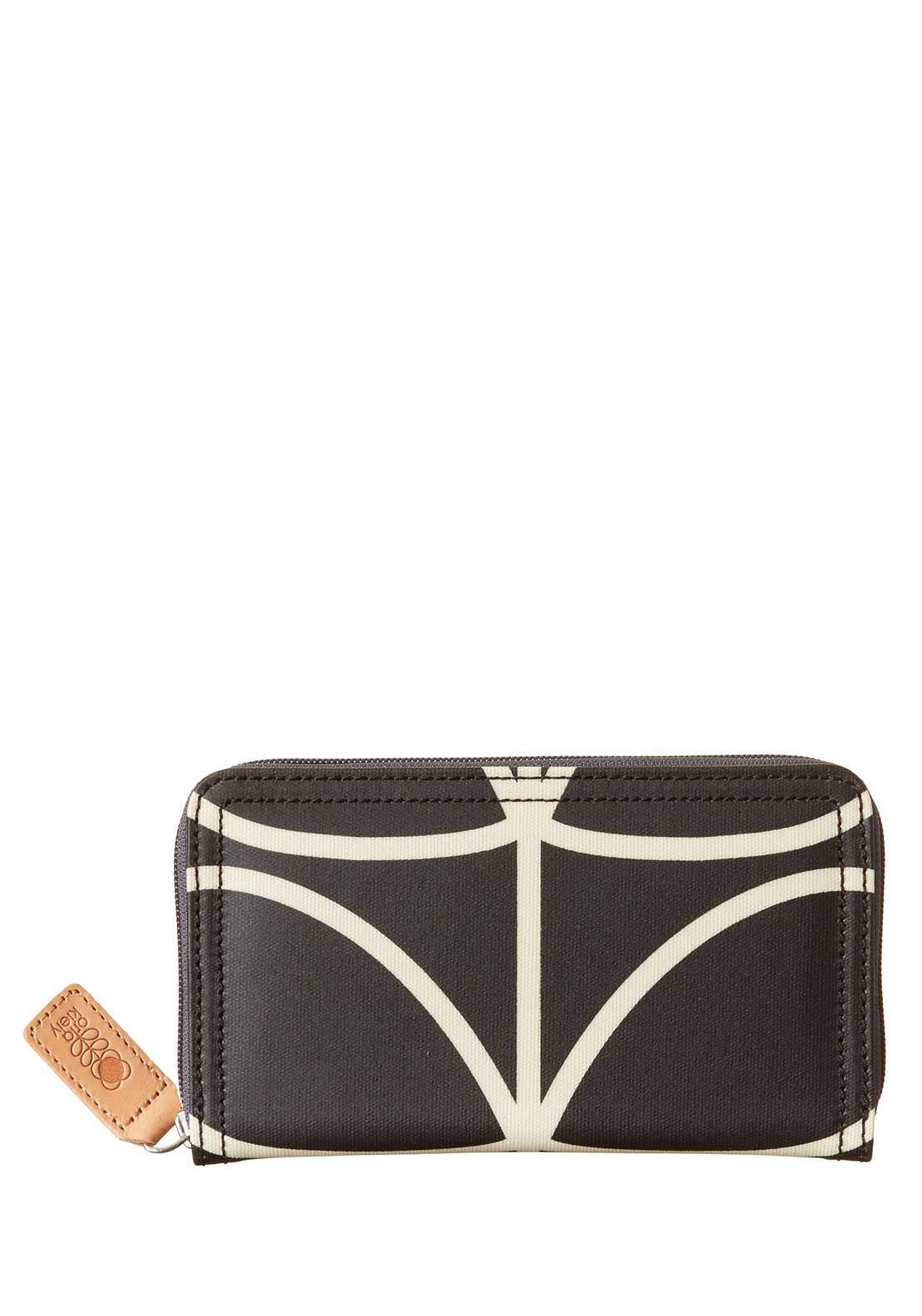 Orla Kiely Giant Linear Stem Big Zip Wallet, Liquorice