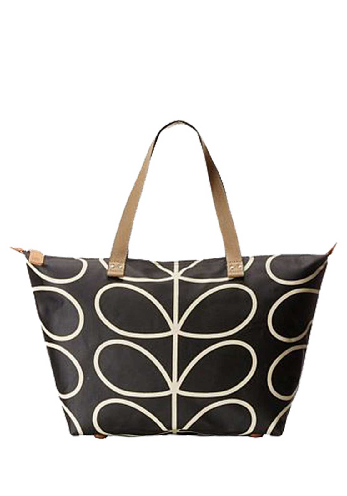 Orla Kiely Giant Linear Stem Zip Shopper Bag, Liquorice