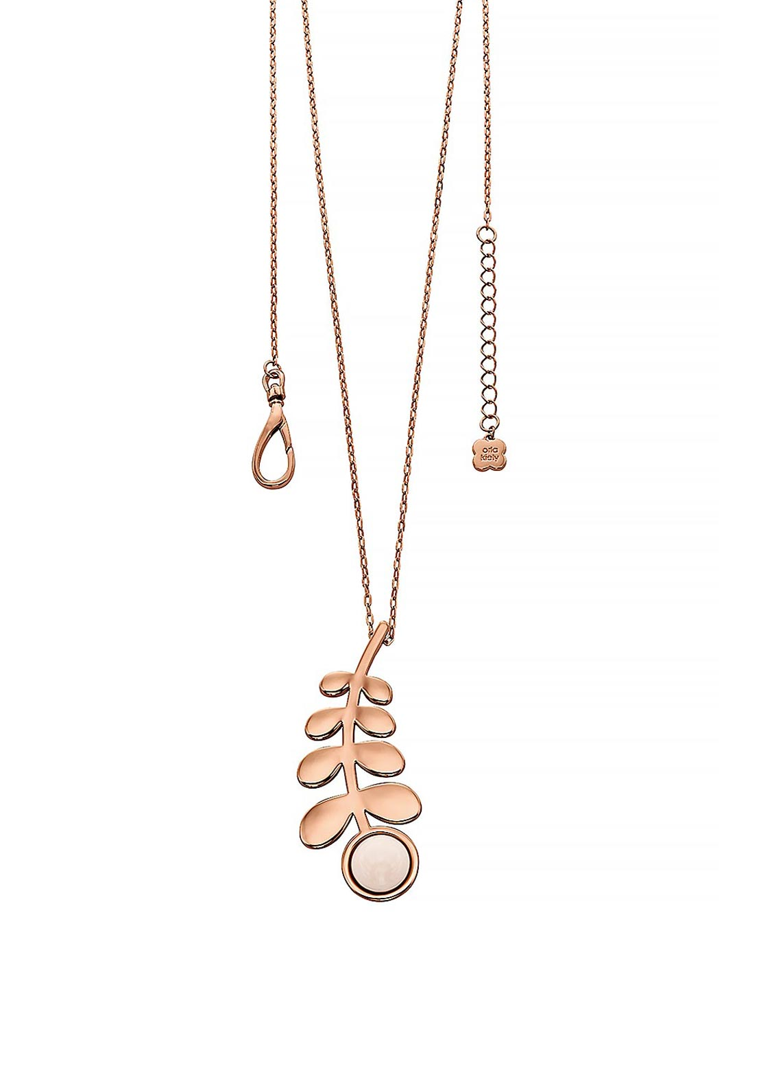 Orla Kiely Buddy Long Line Stem Pendant, Rose Gold