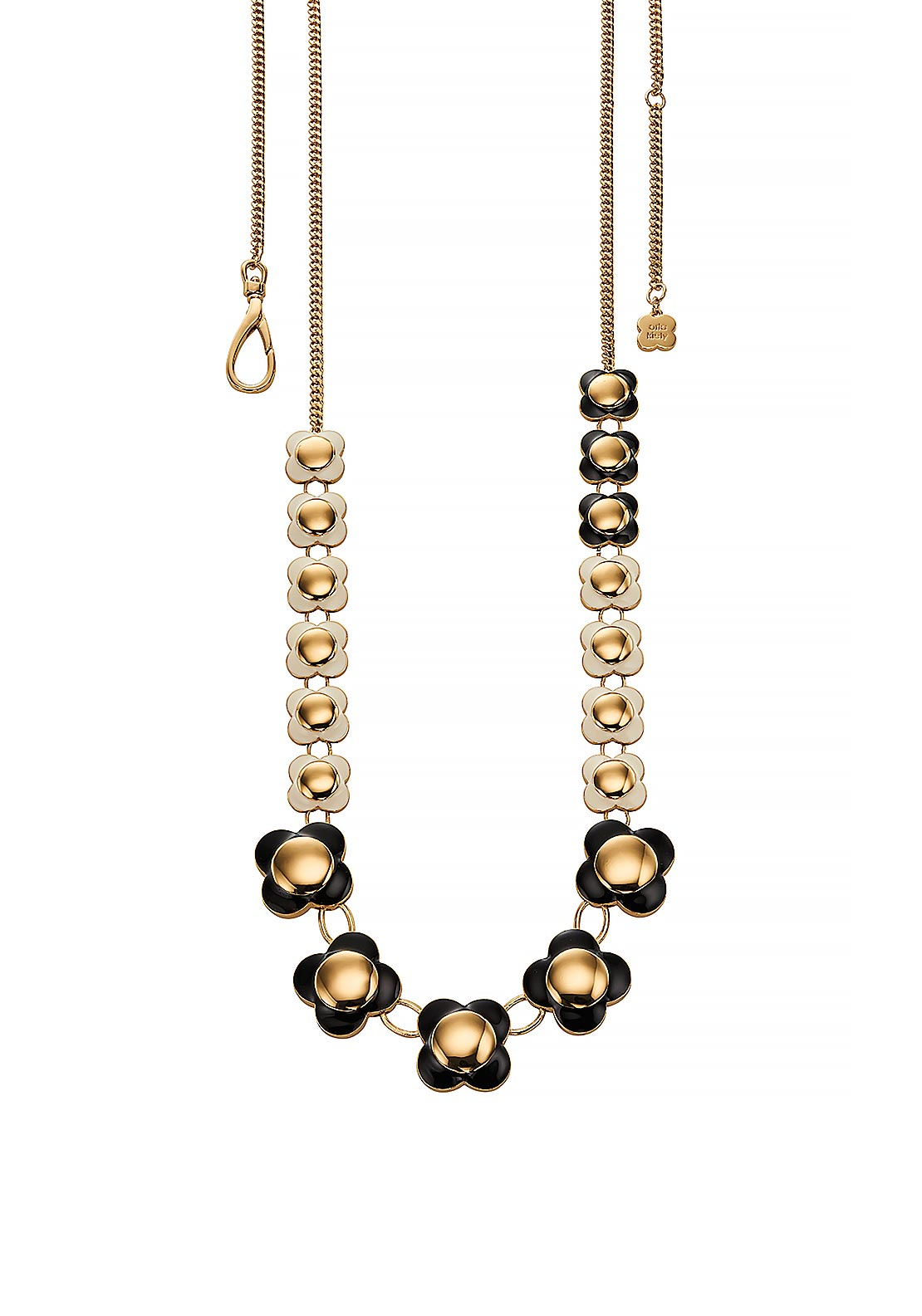 Orla Kiely Daisy Chain Long Flower Necklace, Black White & Gold