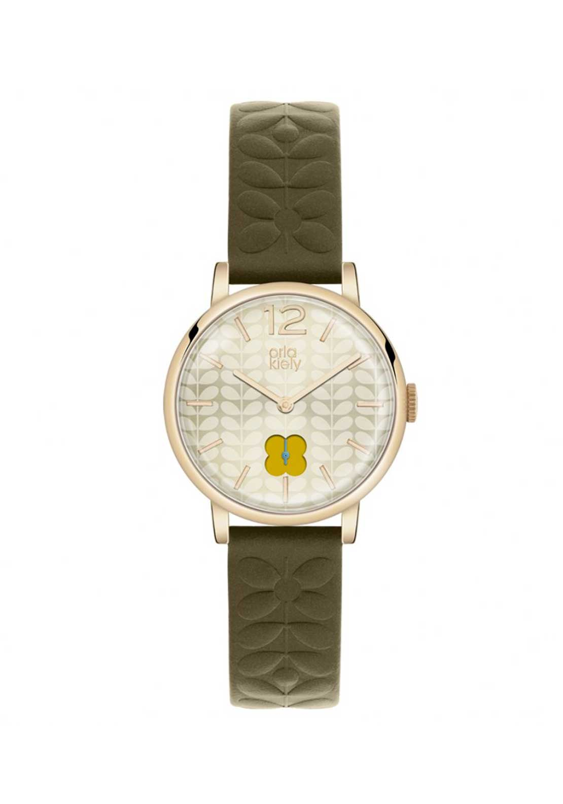 Orla Kiely Ladies Frankie Watch with Embossed Leather Strap, Gold