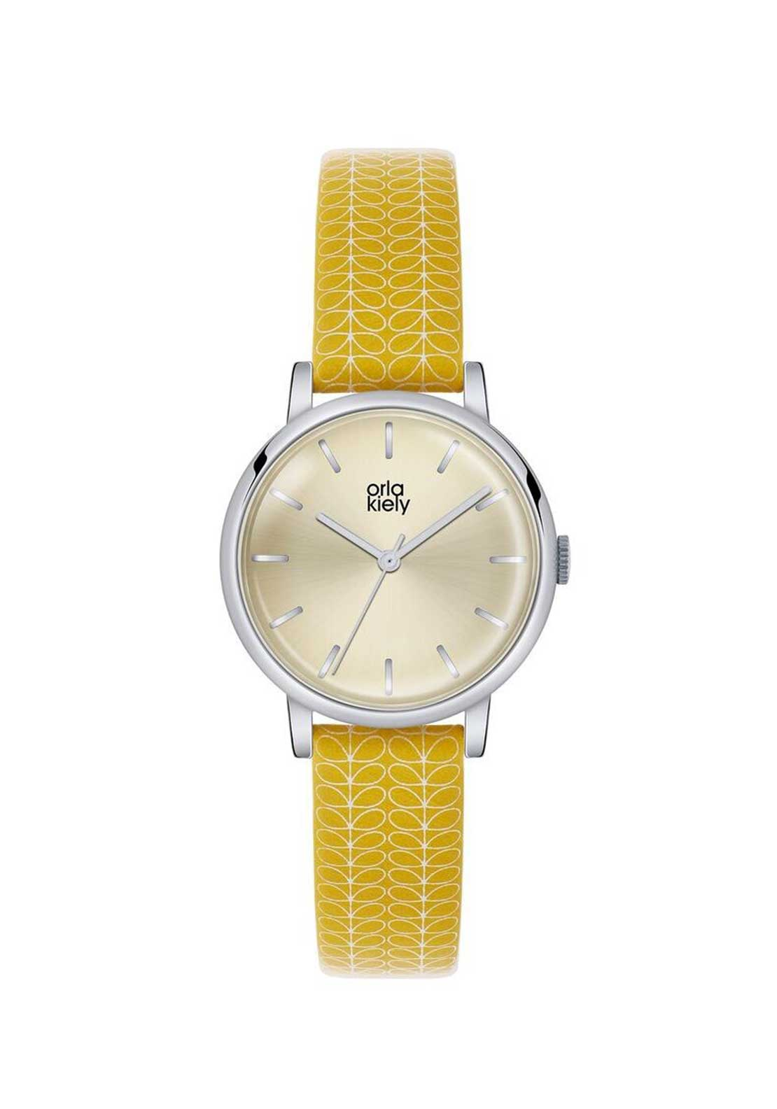 Orla Kiely Yellow Stem Leather Strap Watch