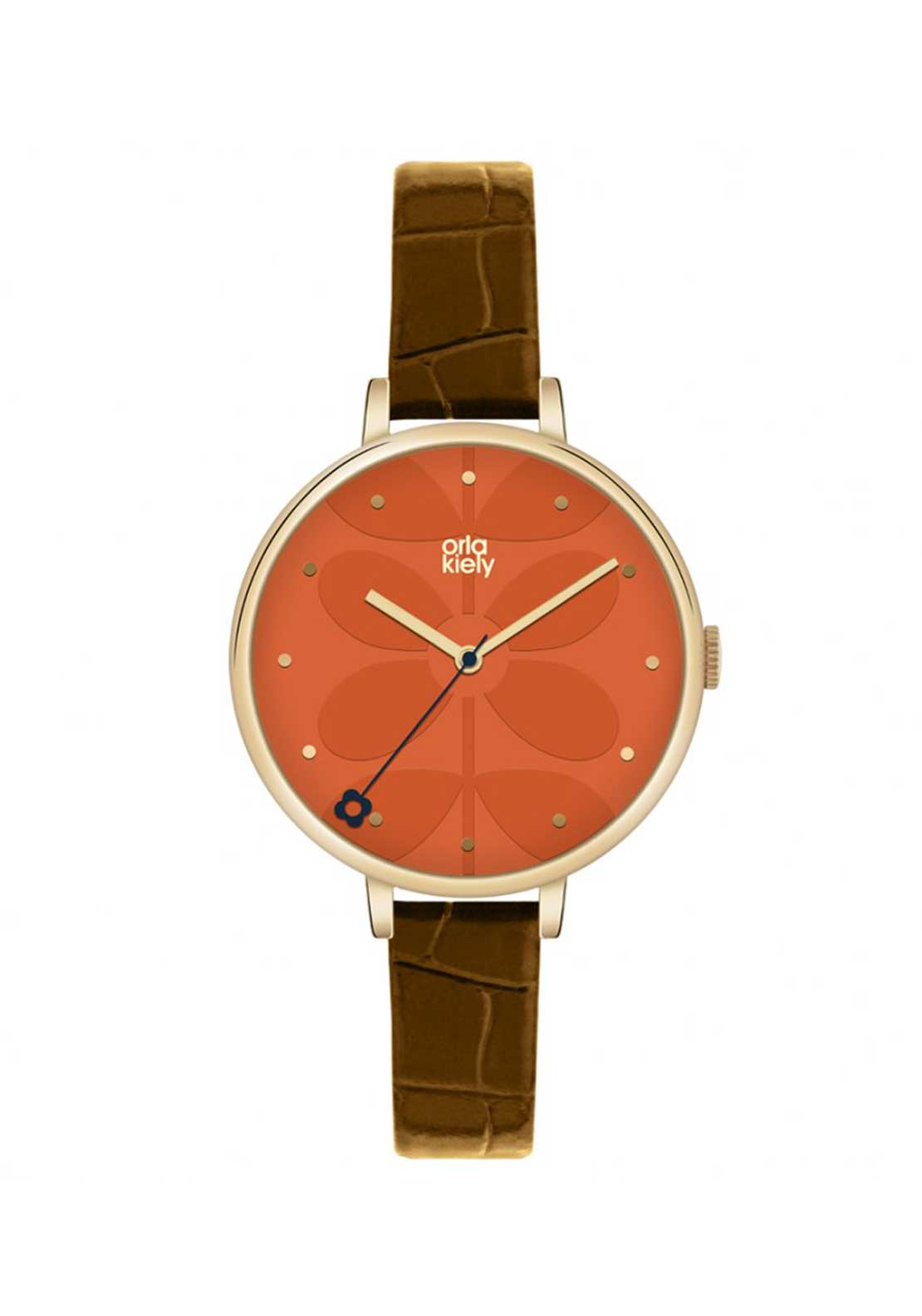 Orla Kiely Time Ivy Orange Watch with Brown Leather Strap