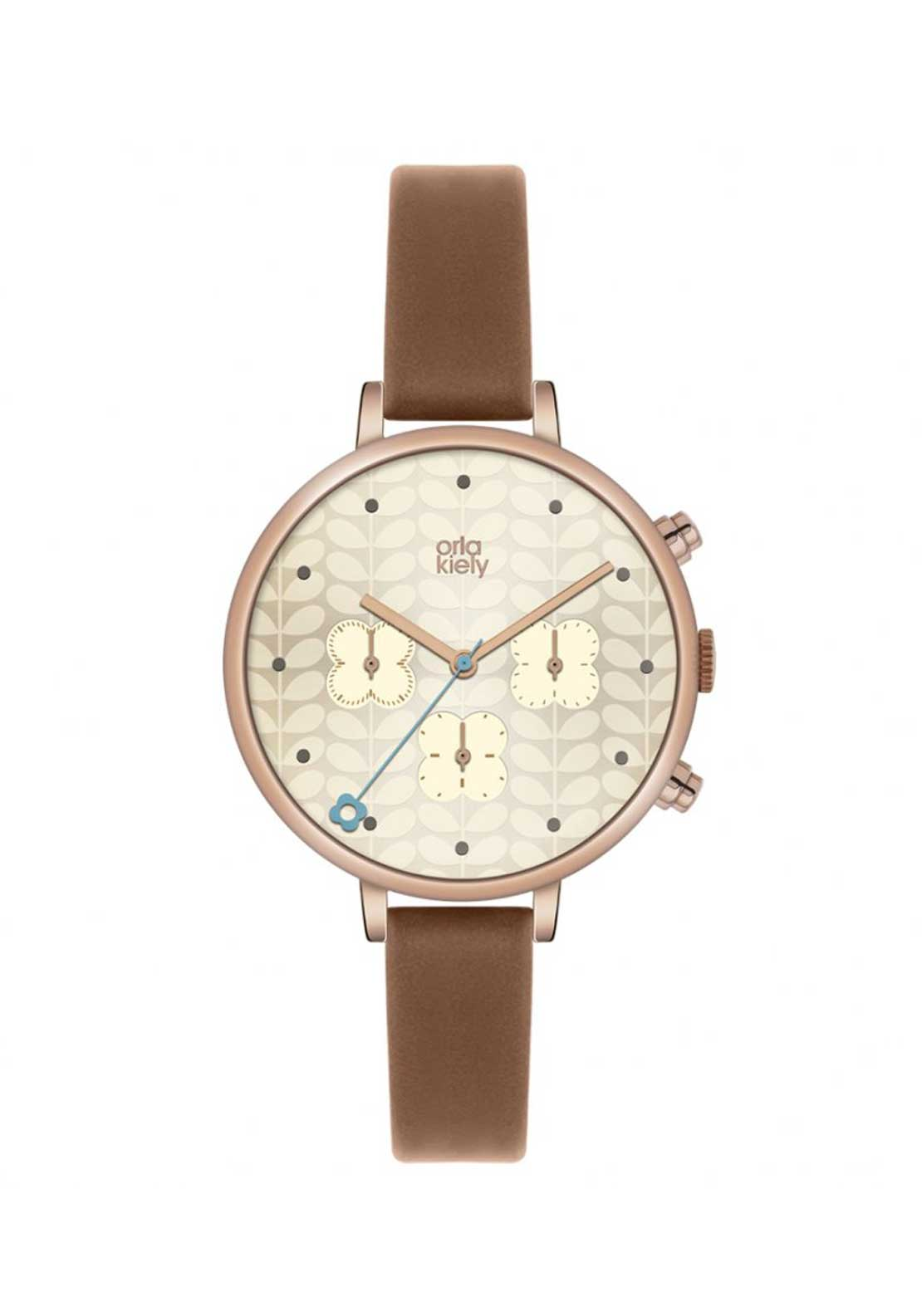 Orla Kiely Time Ladies Ivy Rose Gold Chronograph Watch with Brown Leather Strap
