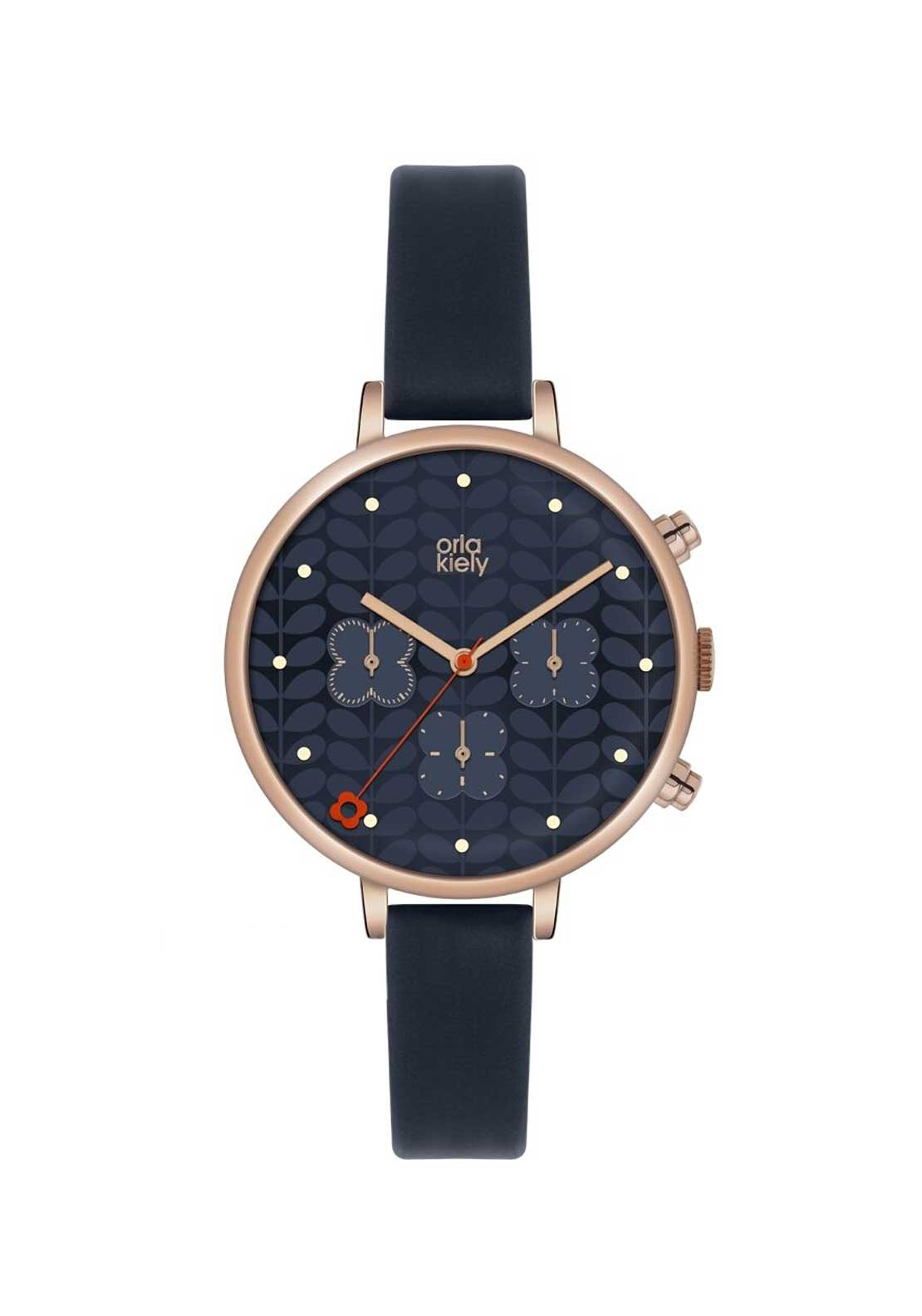 Orla Kiely Ladies Ivy Chronograph Watch with Navy Leather Strap, Rose Gold