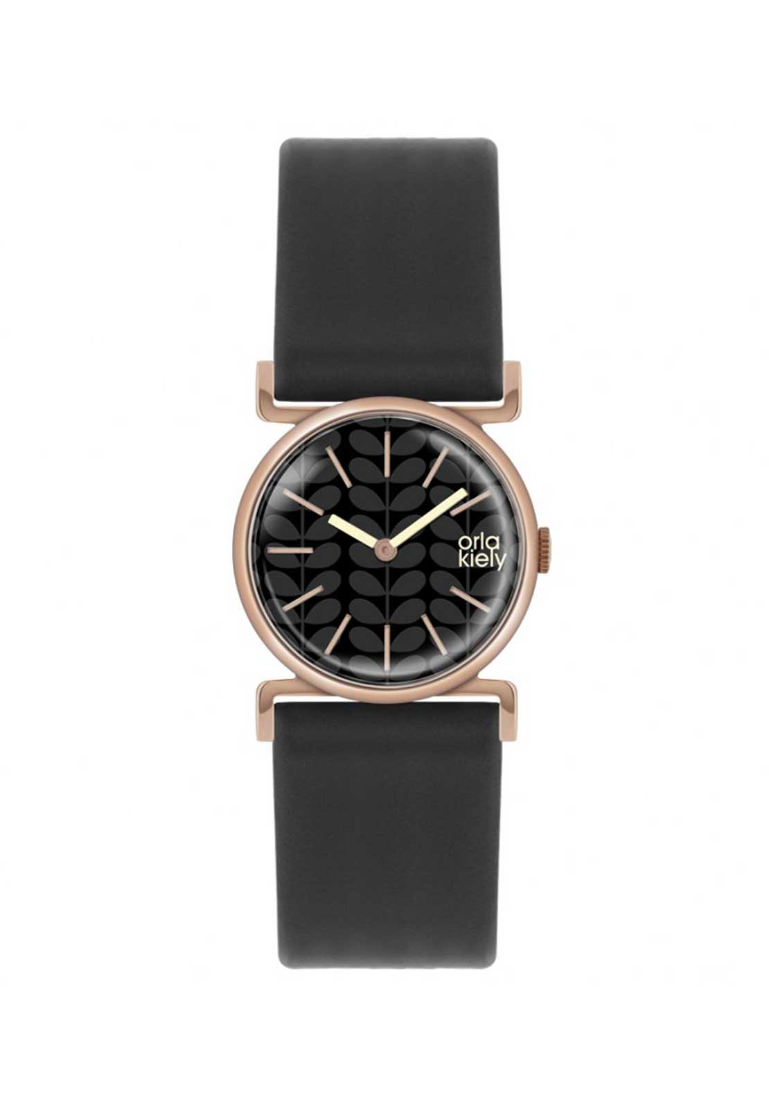 Orla Kiely Ladies Cecelia Watch with Black Leather Strap, Rose Gold