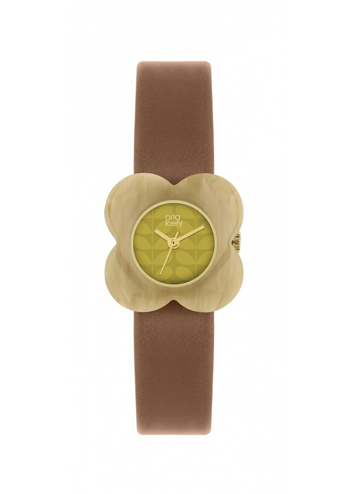 Orla Kiely Time Ladies Yellow Poppy Watch with Brown Leather Strap