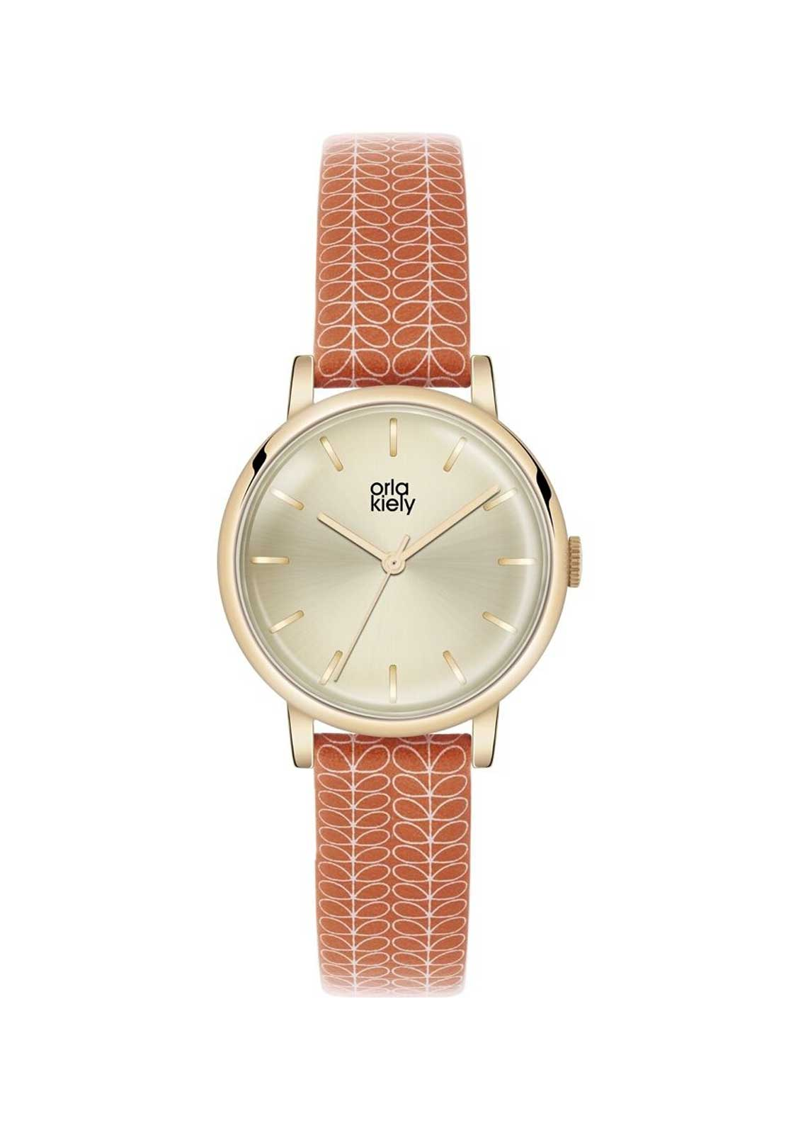 Orla Kiely Time Ladies Gold Watch with Stem Print Red Leather Strap
