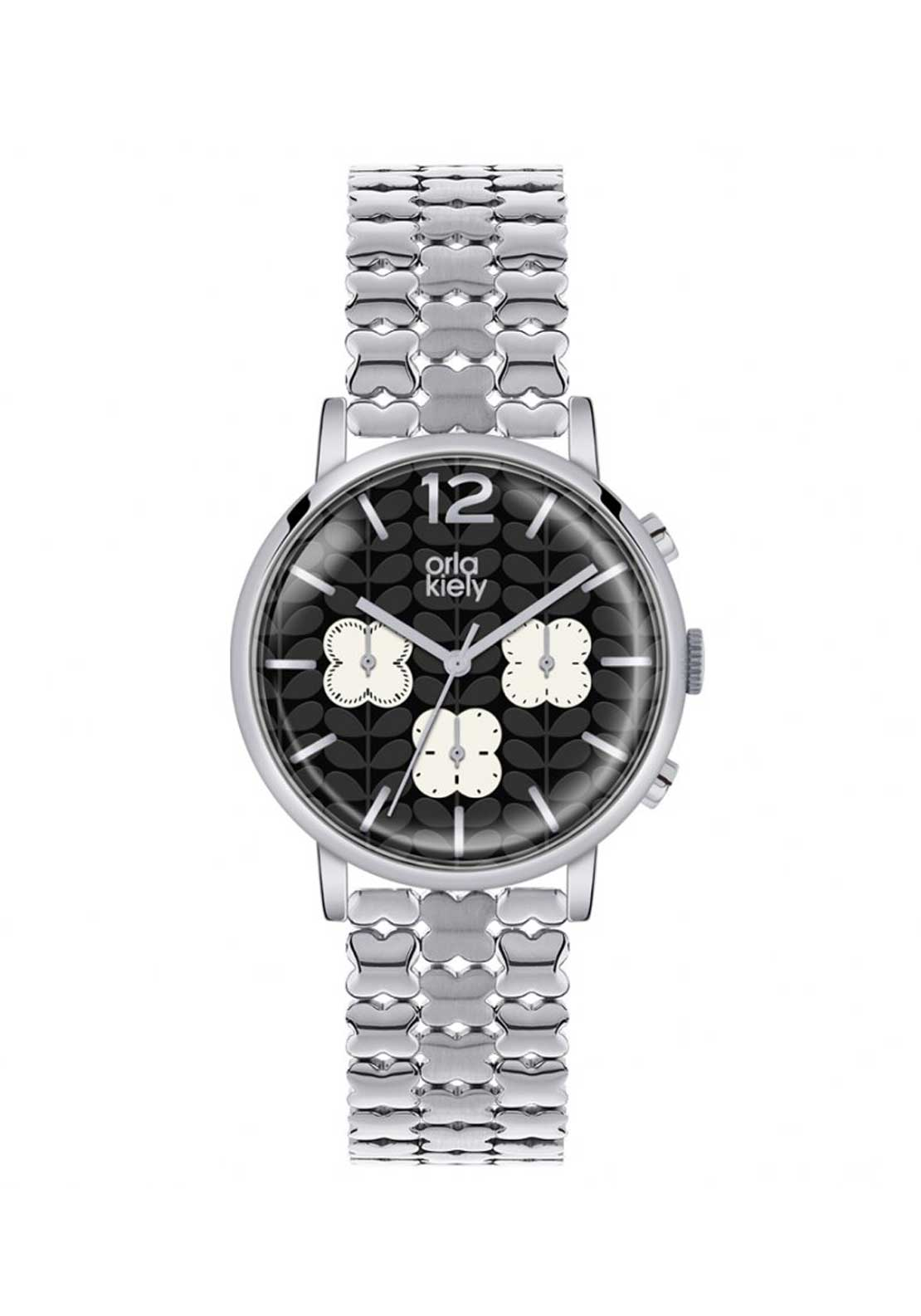 Orla Kiely Ladies Frankie Stainless Steel Chronograph Watch, Silver