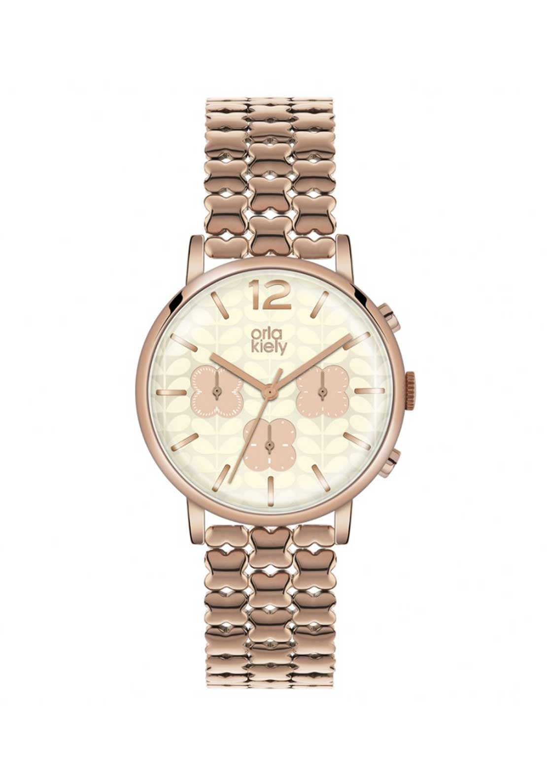 Orla Kiely Ladies Frankie Stainless Steel Watch, Rose Gold