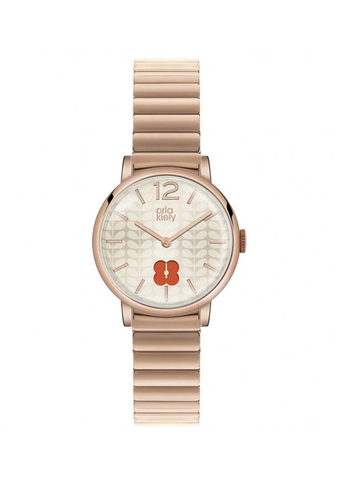 Orla Kiely Ladies Frankie Stainless Steel Watch with flower detail, Rose Gold