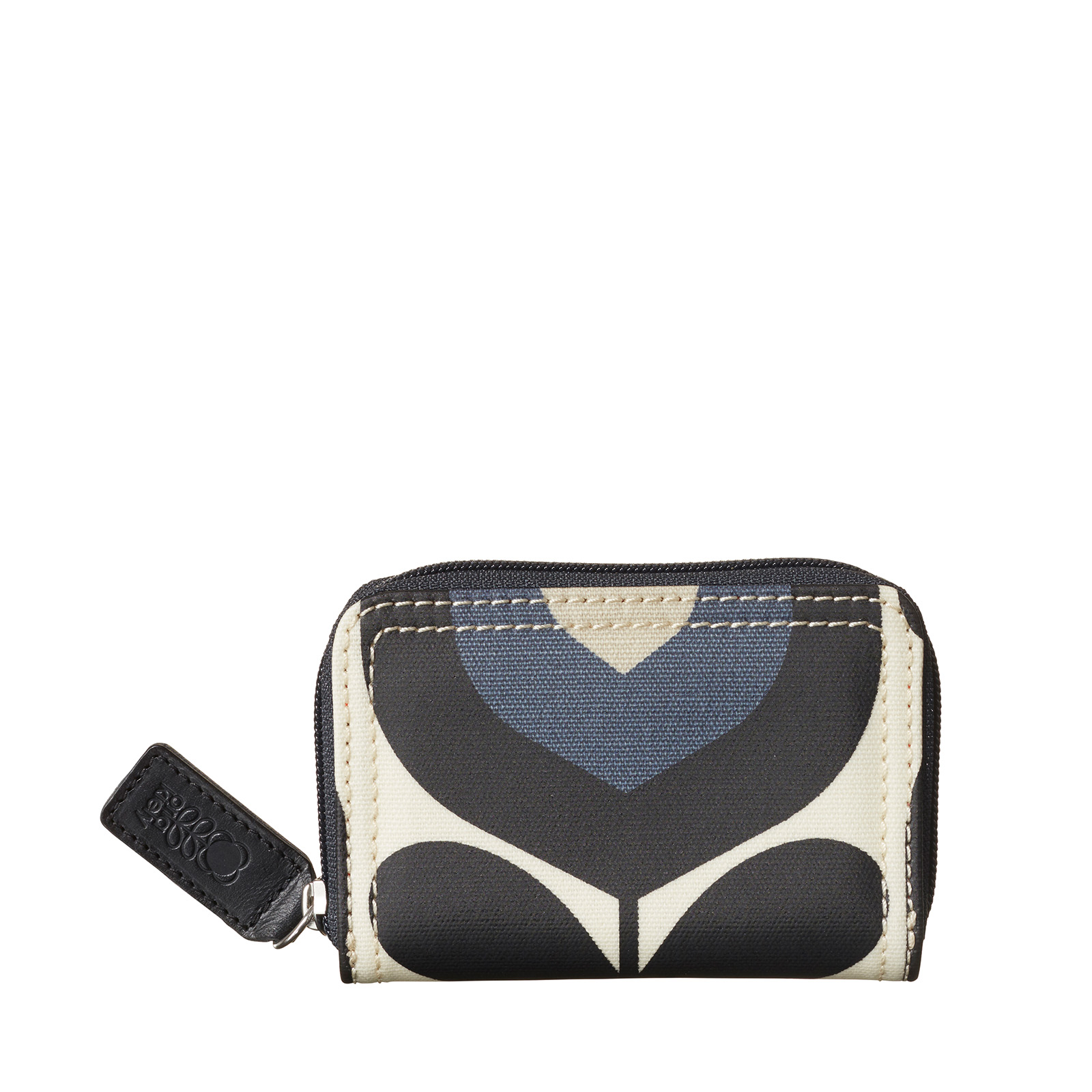 Orla Kiely Stripe Tulip Print Medium Zip Wallet, Dusk