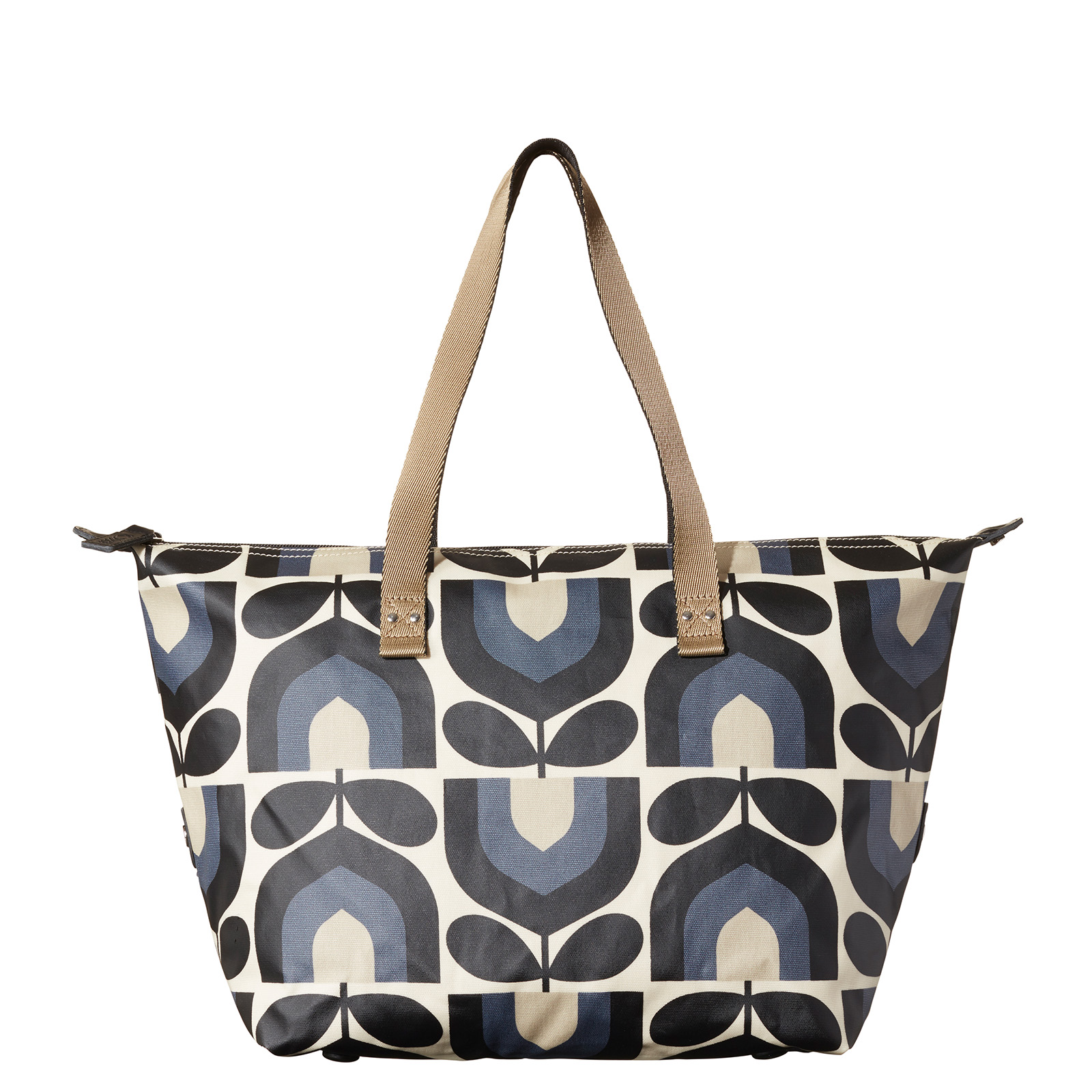 Orla Kiely Stripe Tulip Print Zip Shopper Bag, Dusk