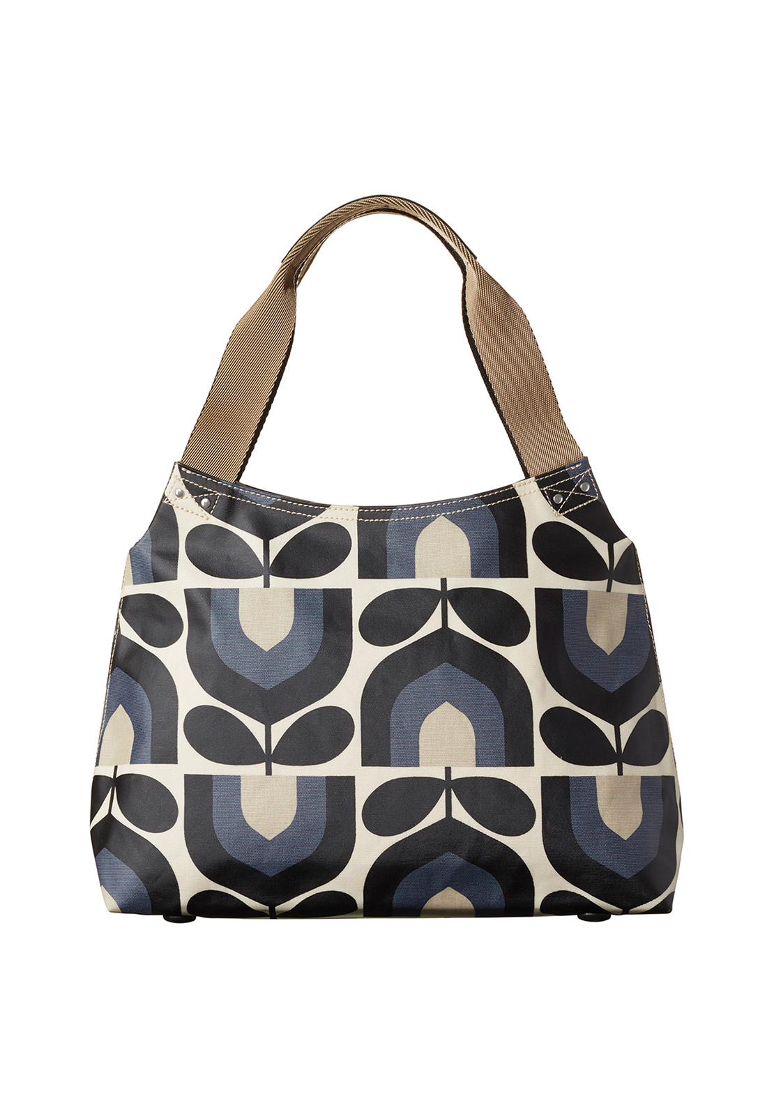 Orla Kiely Stripe Tulip Print Zip Shoulder Bag, Dusk