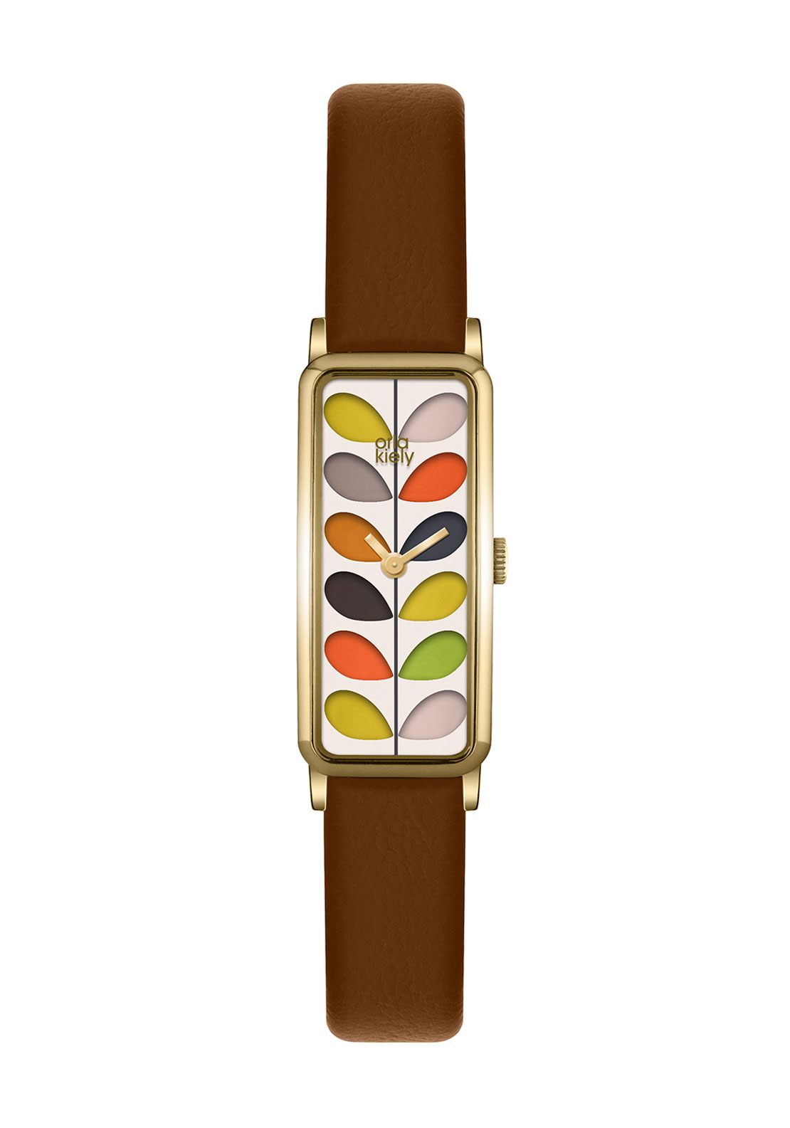 Orla Kiely Leather Rectangular Stem Watch, Brown