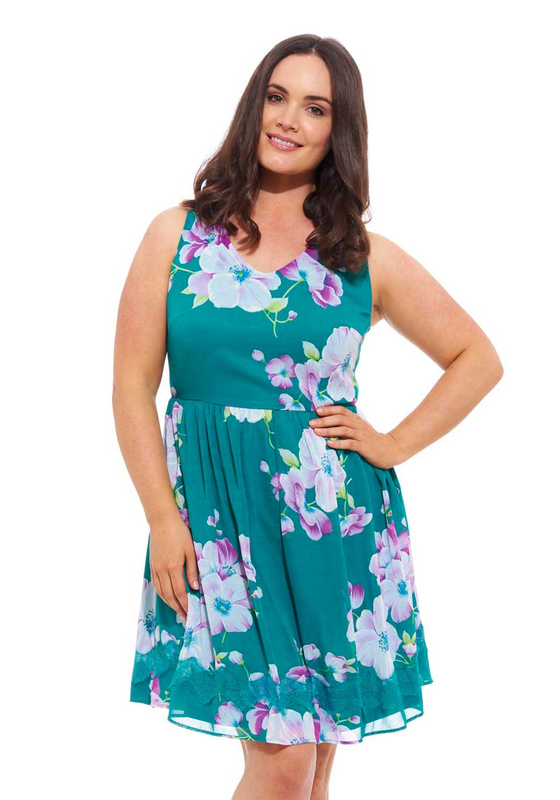 Lovedrobe Floral Print V Neck Skater Dress, Turquoise