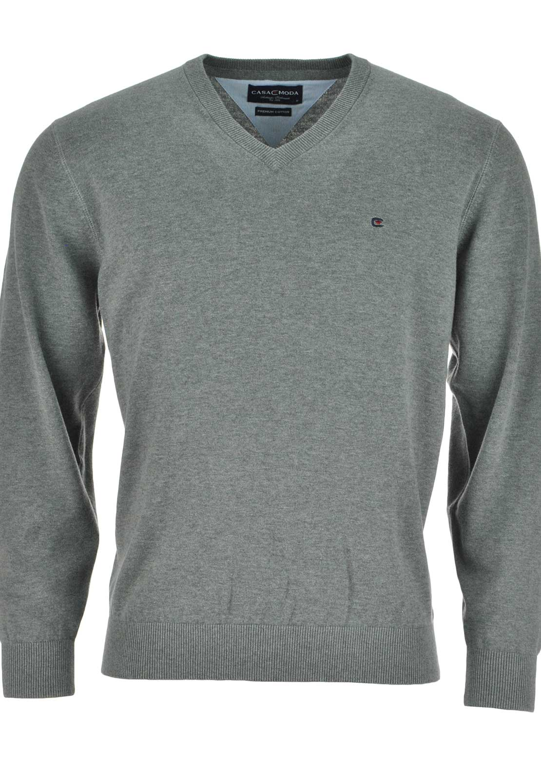 Casa Moda Mens Plain V-neck Jumper, Grey