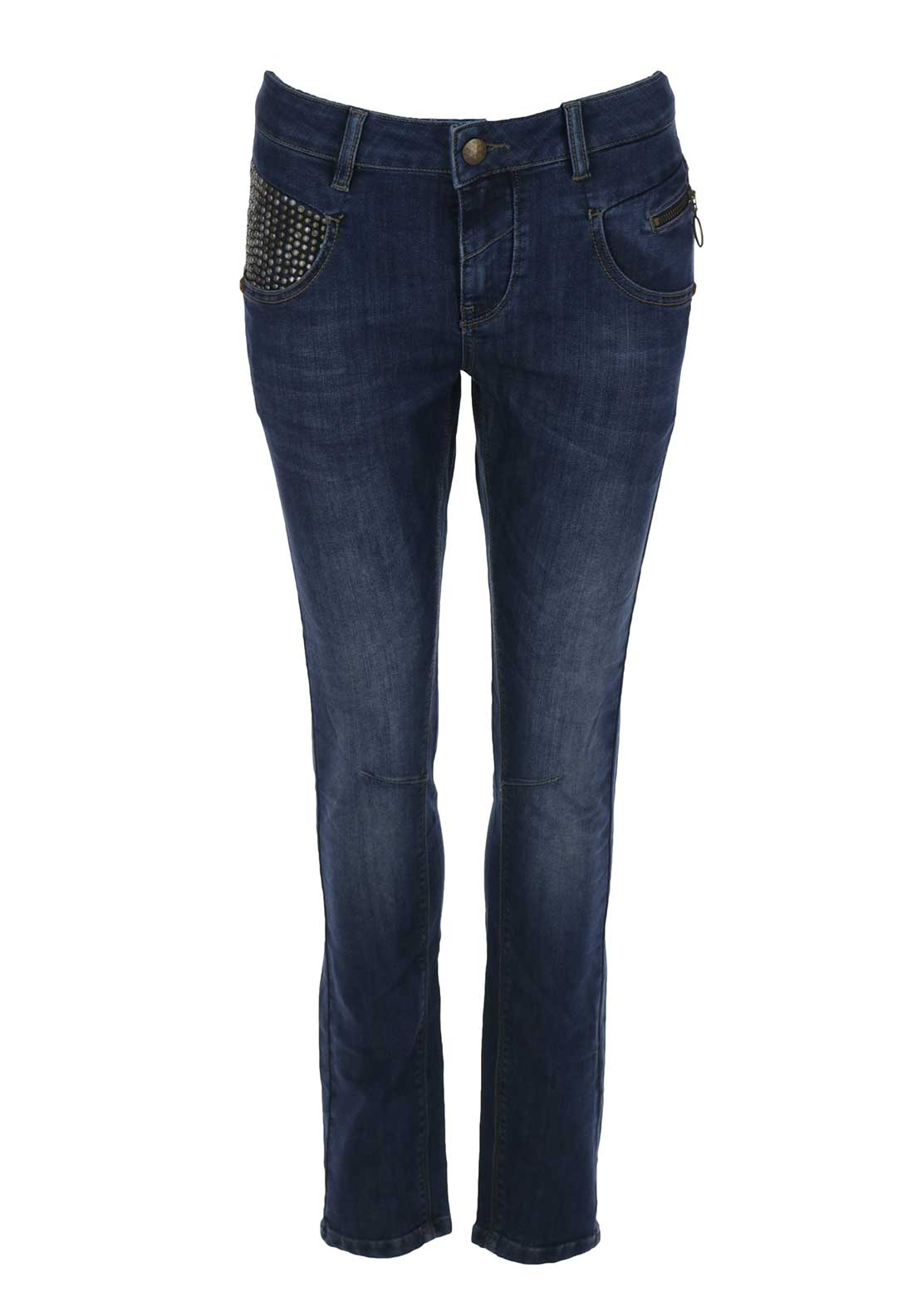 Mos Mosh Nelly York Stud Embellished Slim Jeans, Blue Denim