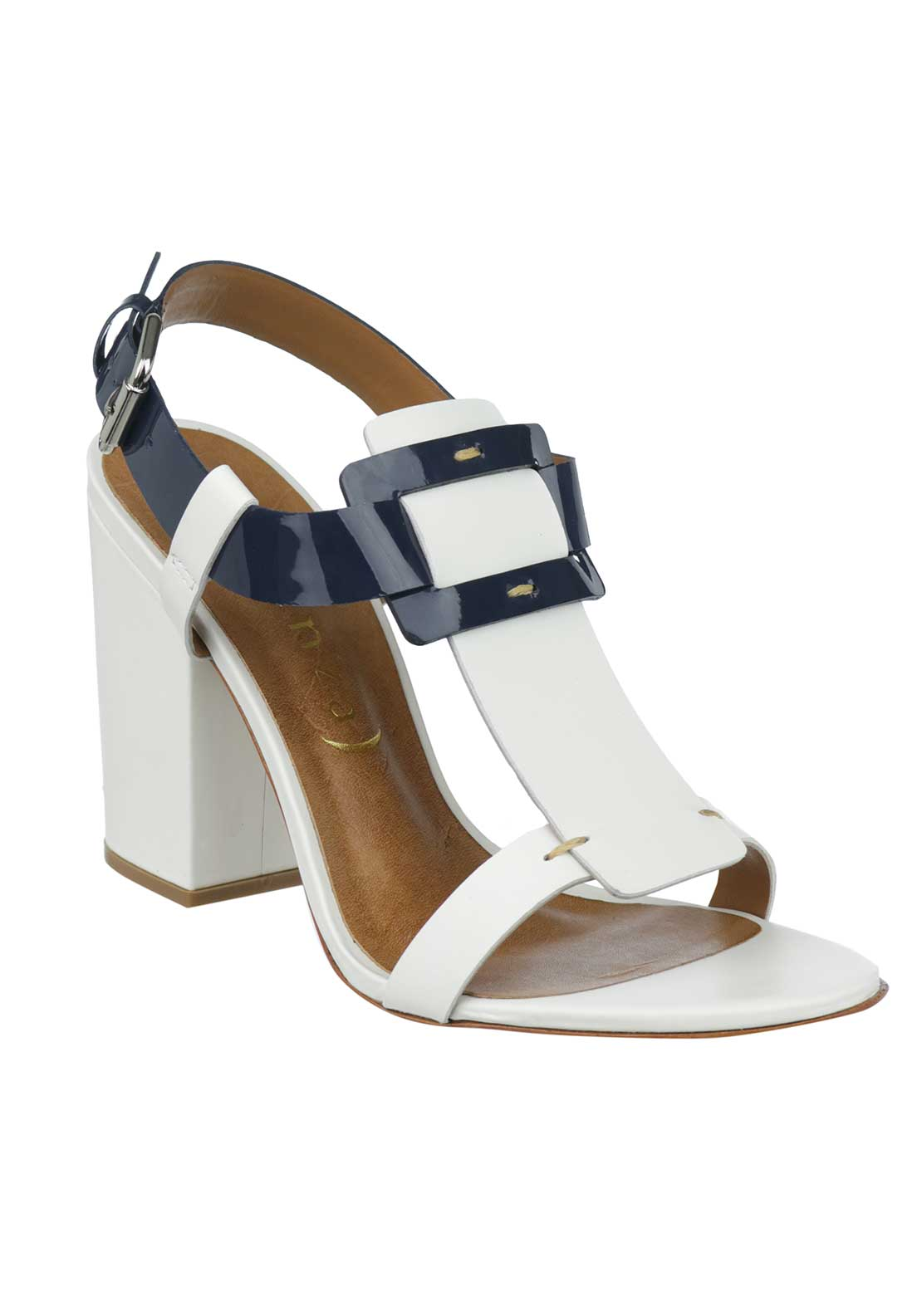 Unique Footwear Leather Patent Block Heeled Sandals, White and Navy