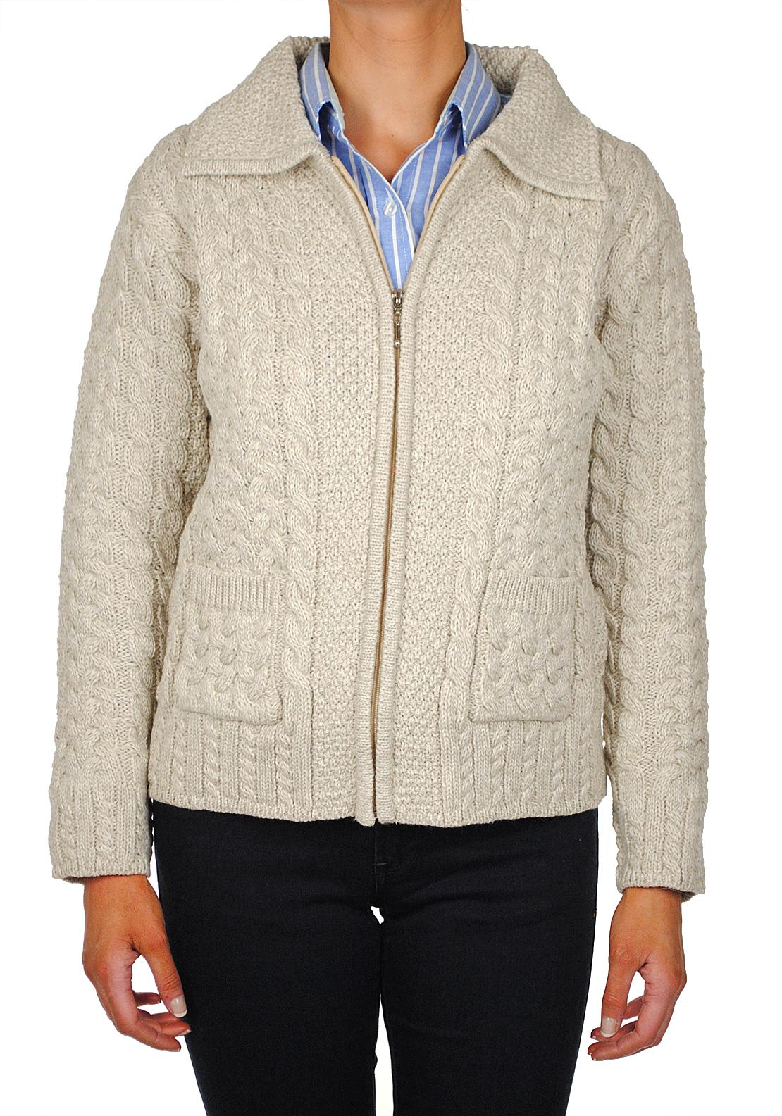 Shades of Aran Ireland Traditional Knit Cardigan, Oatmeal