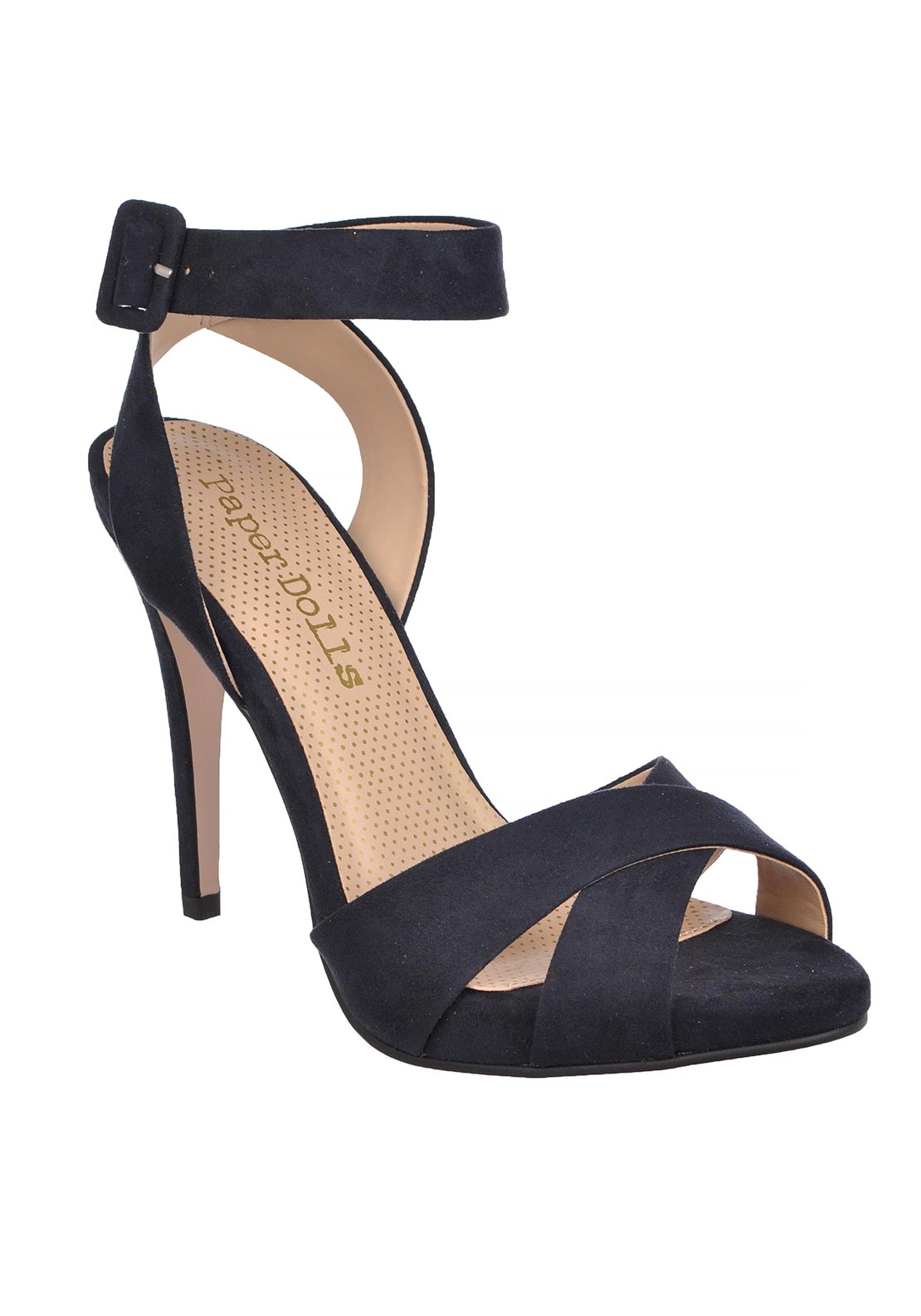 Paper Dolls Peep Toe Ankle Strap Heeled Sandals, Navy