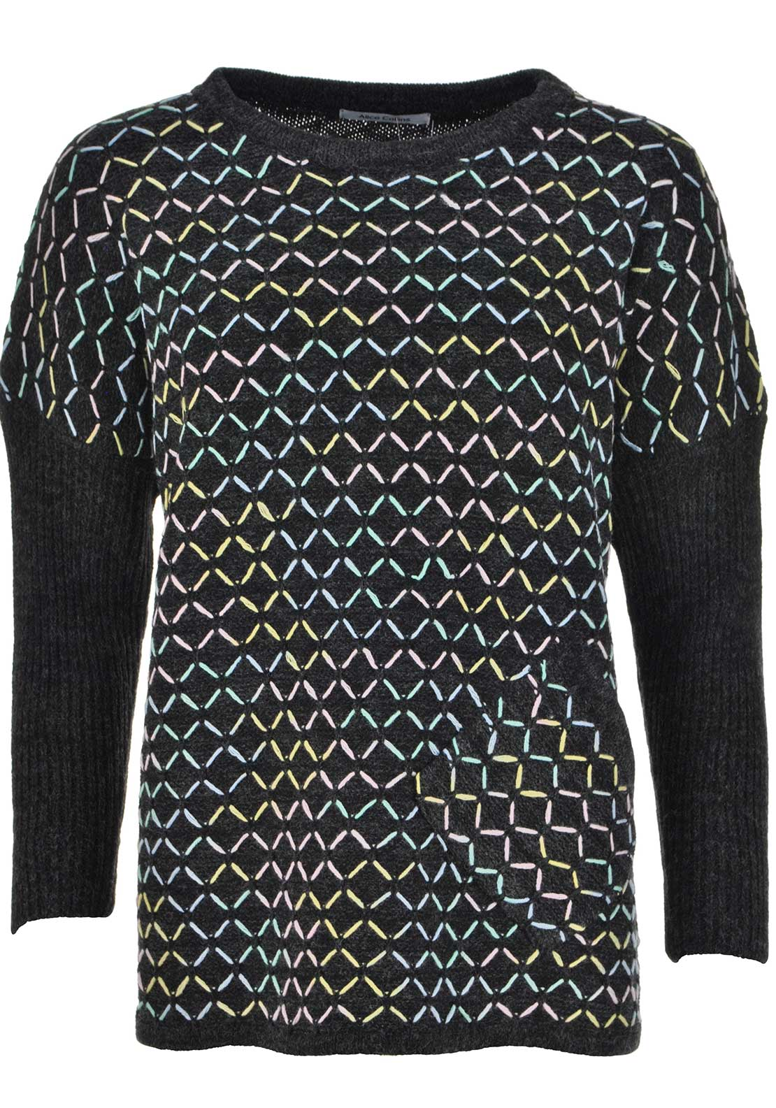 Alice Collins Pastel Diamond Print Sweater Jumper, Charcoal Grey