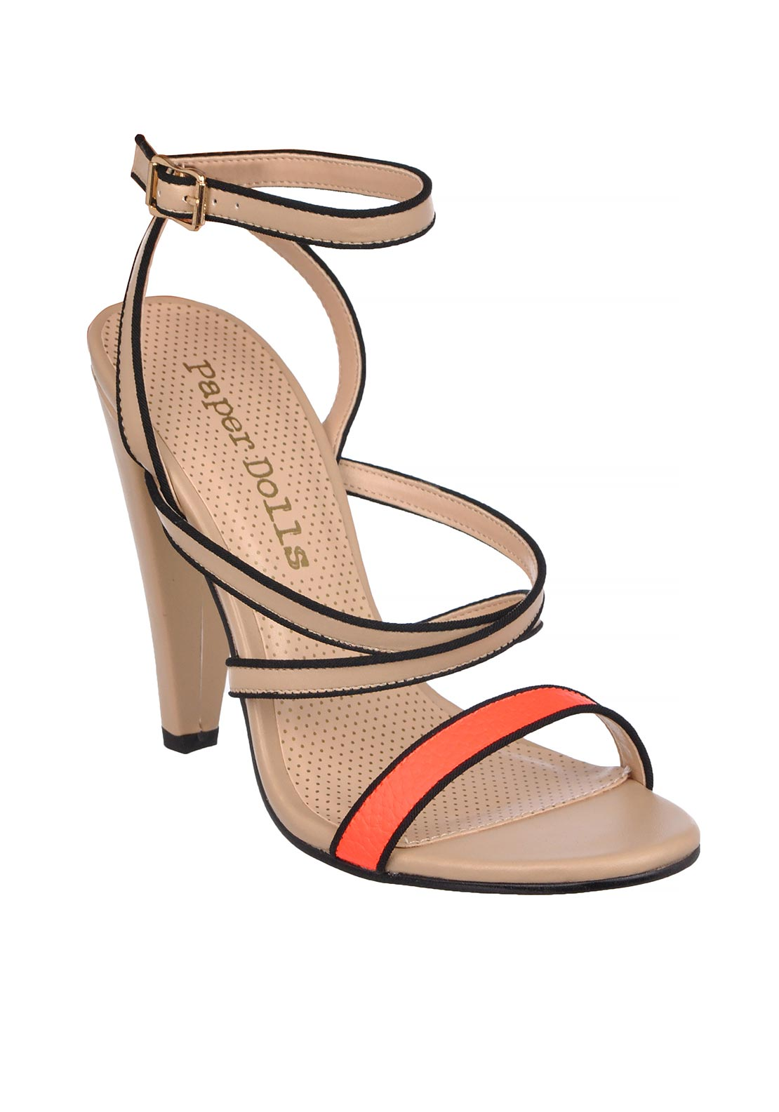 Paper Dolls Criss Cross Ankle Strap Heeled Sandals, Nude