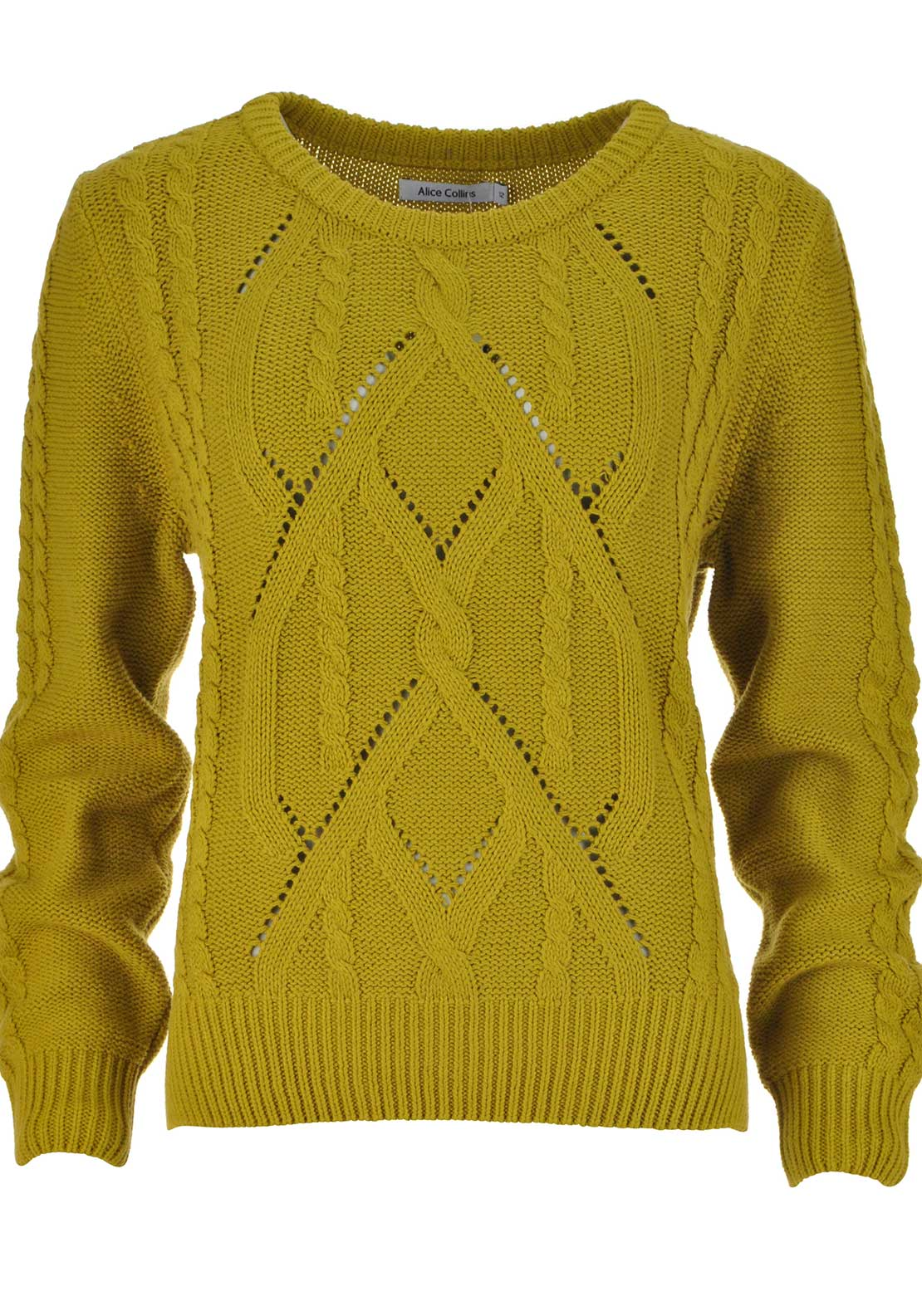 Alice Collins Cable Knit Chunky Knit Sweater Jumper, Mustard