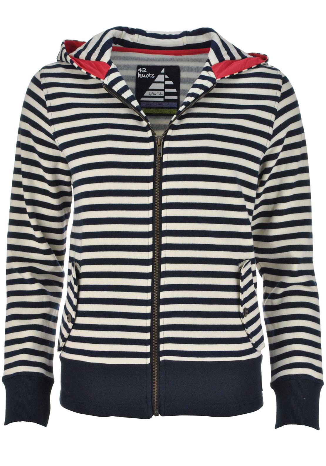 42 Knots by Alice Collins Striped Zip Up Hoody Jumper, Cream and Navy
