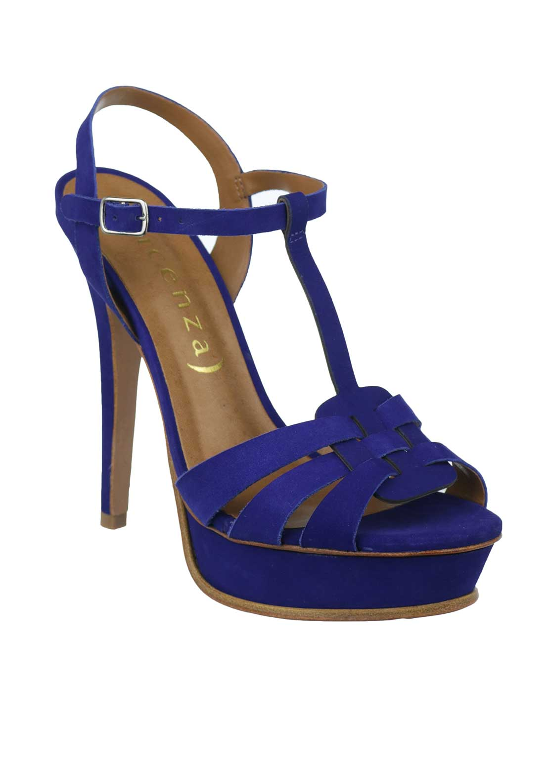 Unique Footwear Suede T-Bar Platform Heeled Sandals, Cobalt Blue