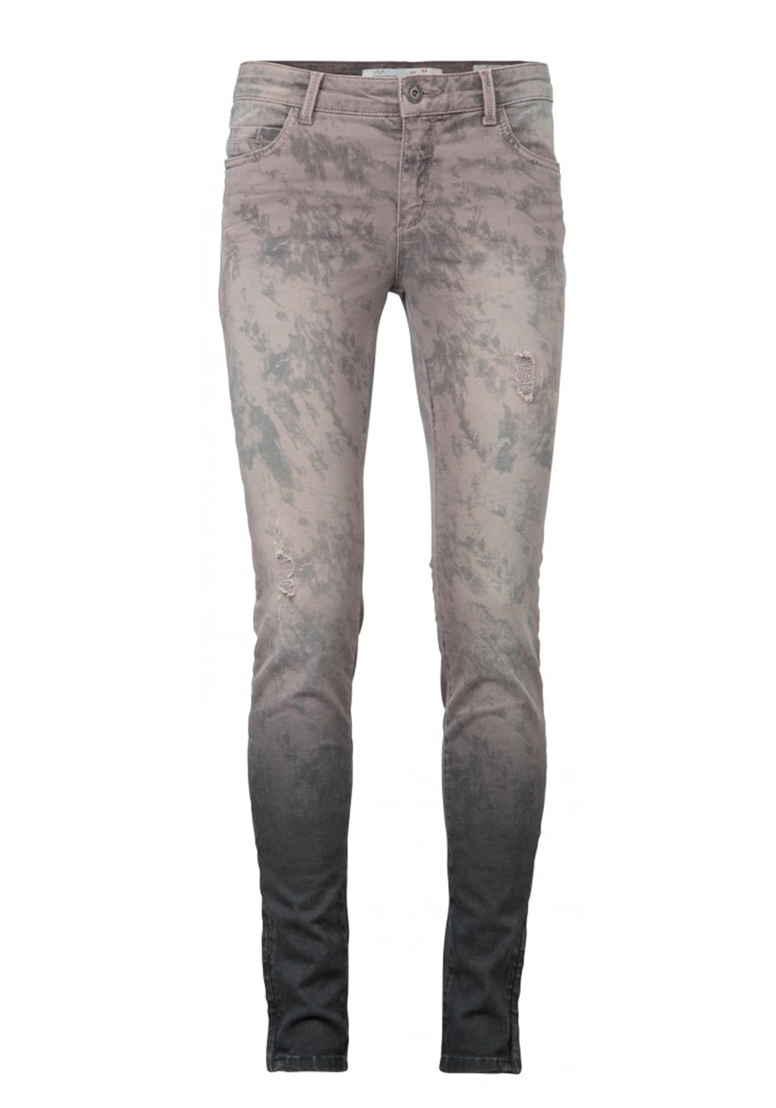 Yaya Distressed Marble Print Skinny Jeans, Lilac Multi