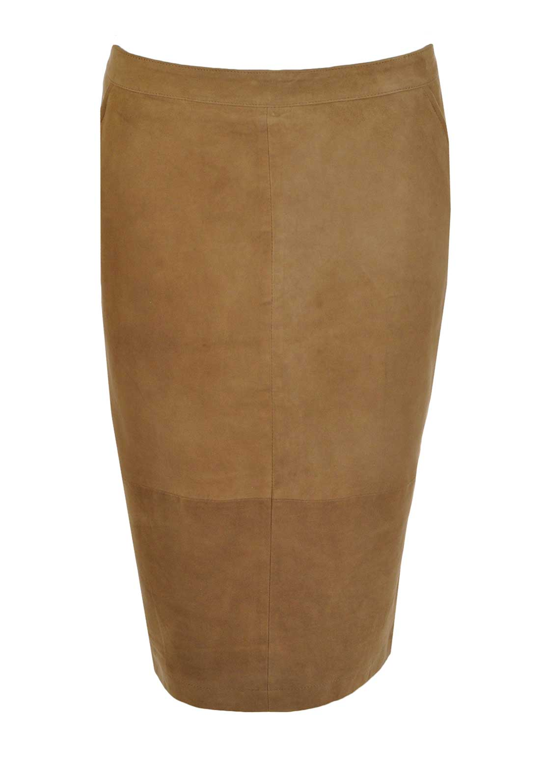 Yaya Suede Pencil Skirt, Camel