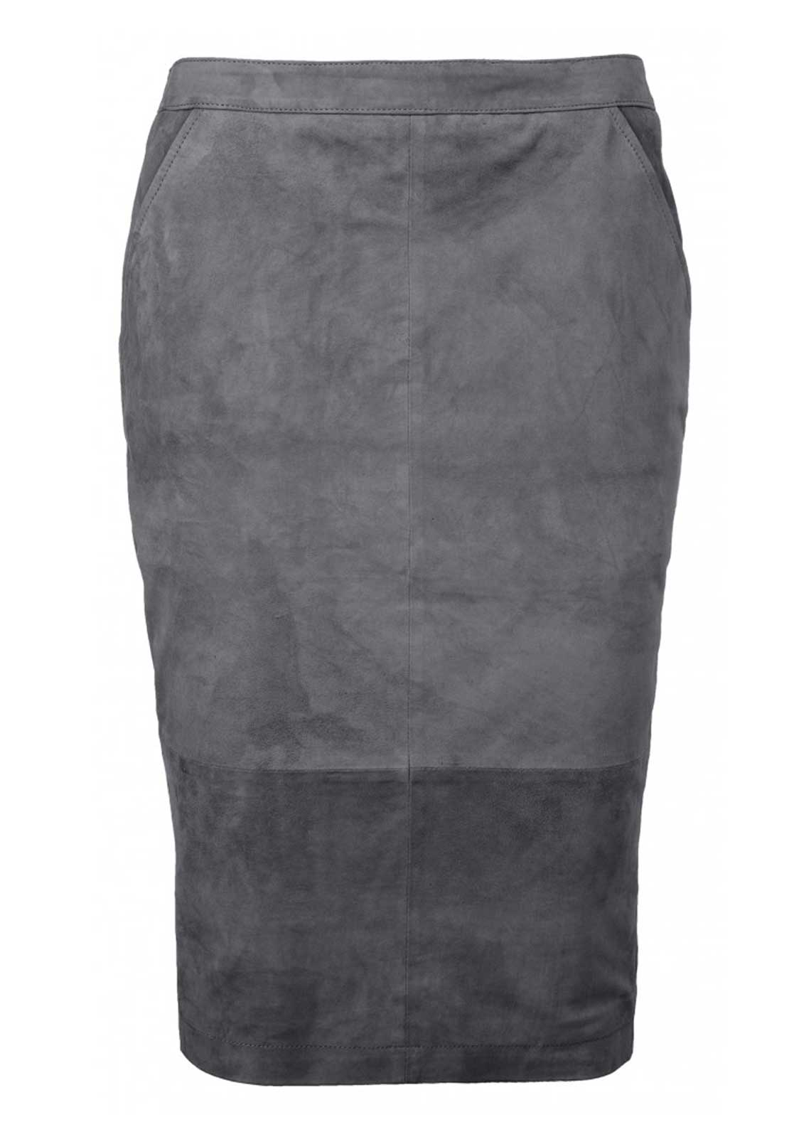 Yaya Suede Pencil Skirt, Dark Grey