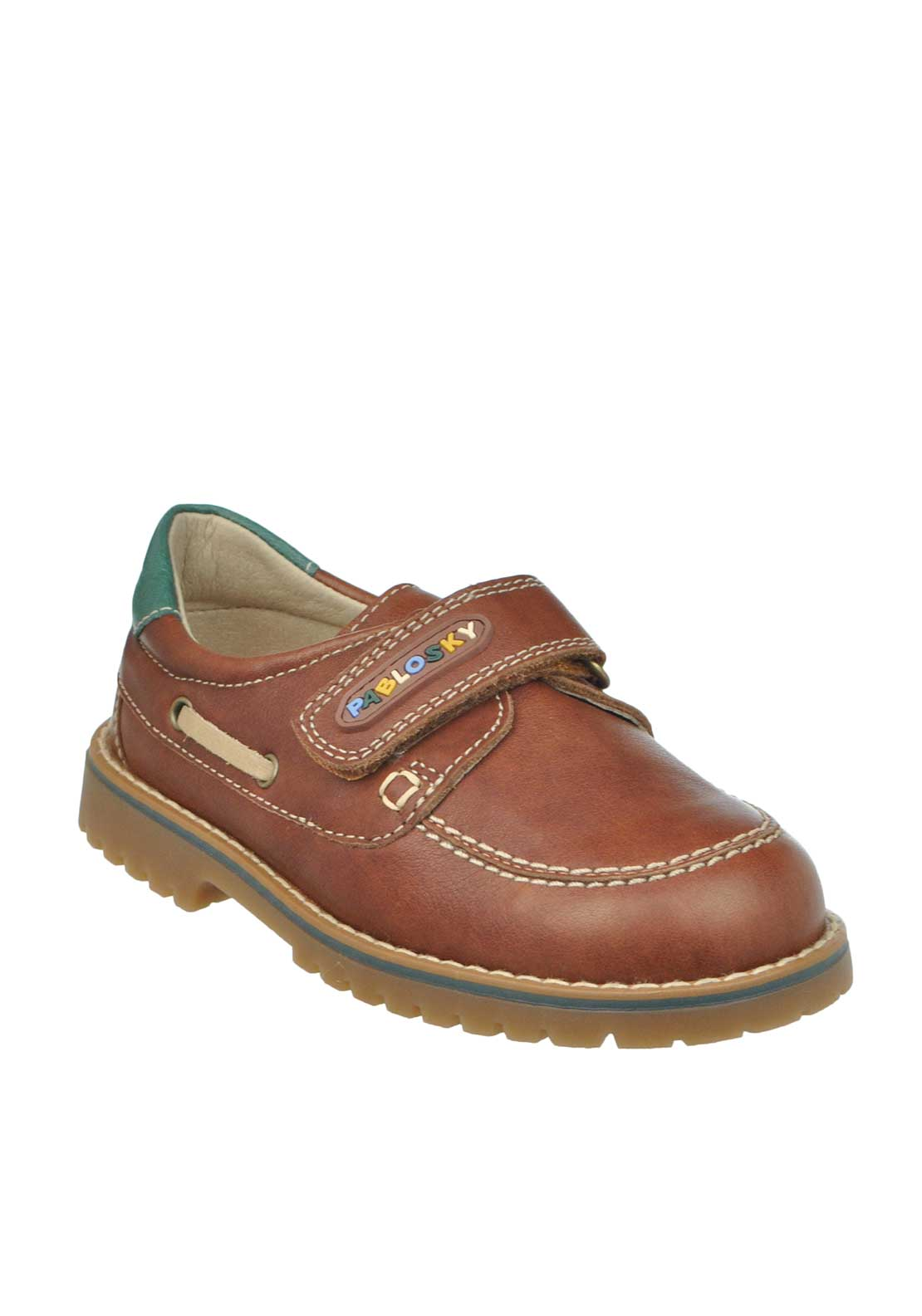 Pablosky Baby Boys Leather Velcro Strap Loafer Shoes, Tan