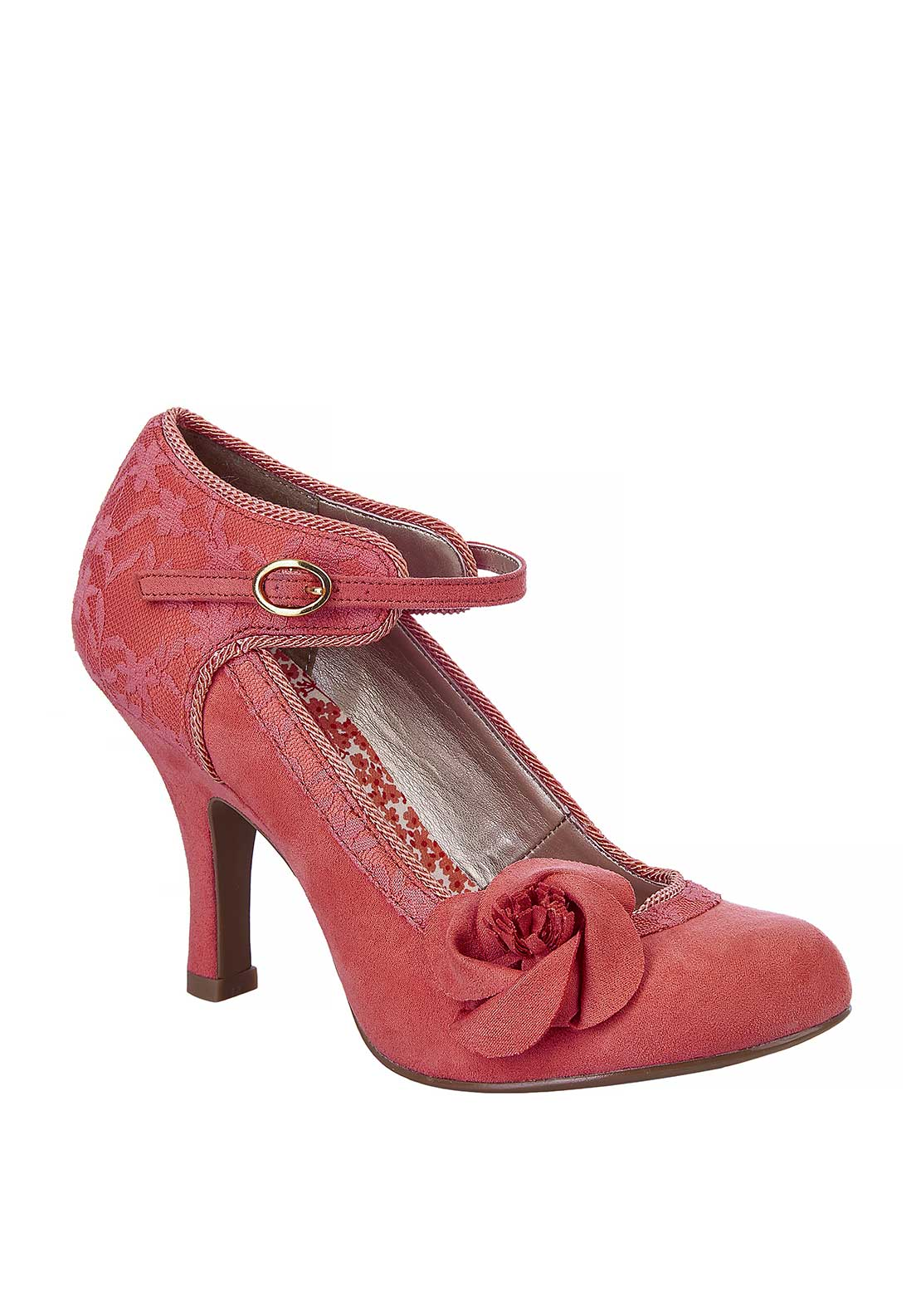 Ruby Shoo Anna Flower Ankle Strap Heeled Shoes, Coral
